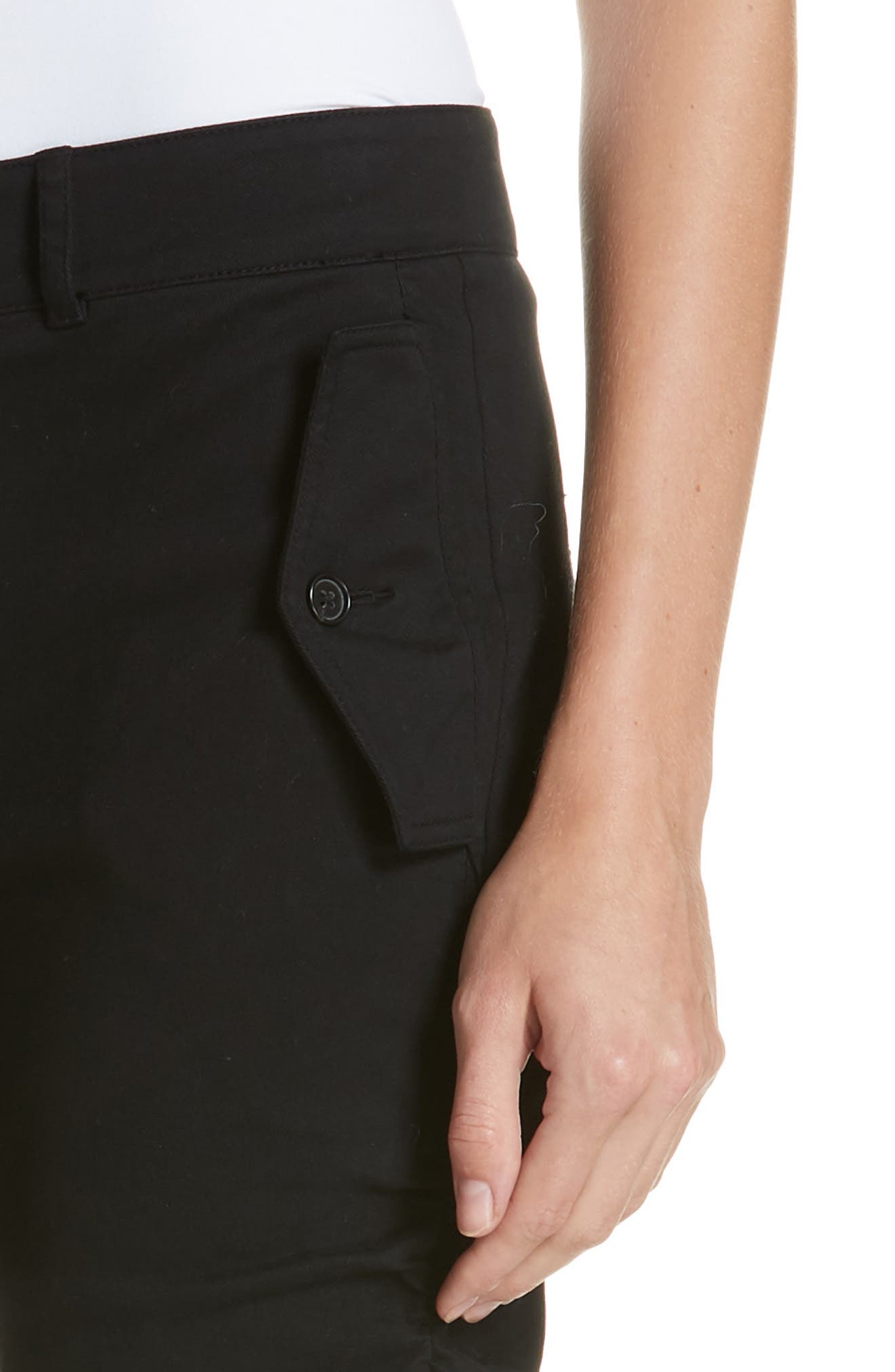 Ruched Stretch Cotton Pants,                             Alternate thumbnail 4, color,                             BLACK