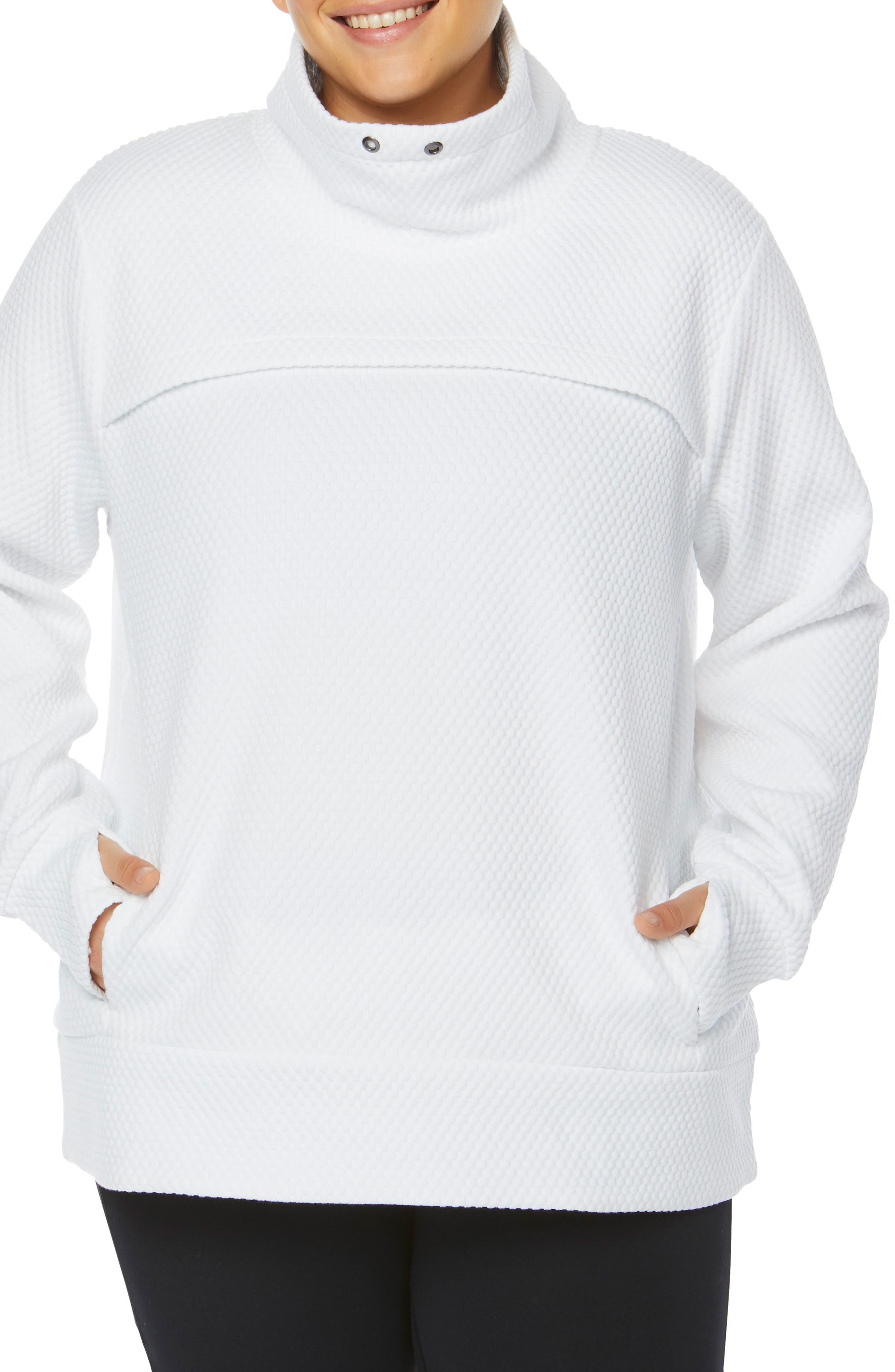 Plus Size Shape Activewear Overcast Funnel Neck Pullover, White