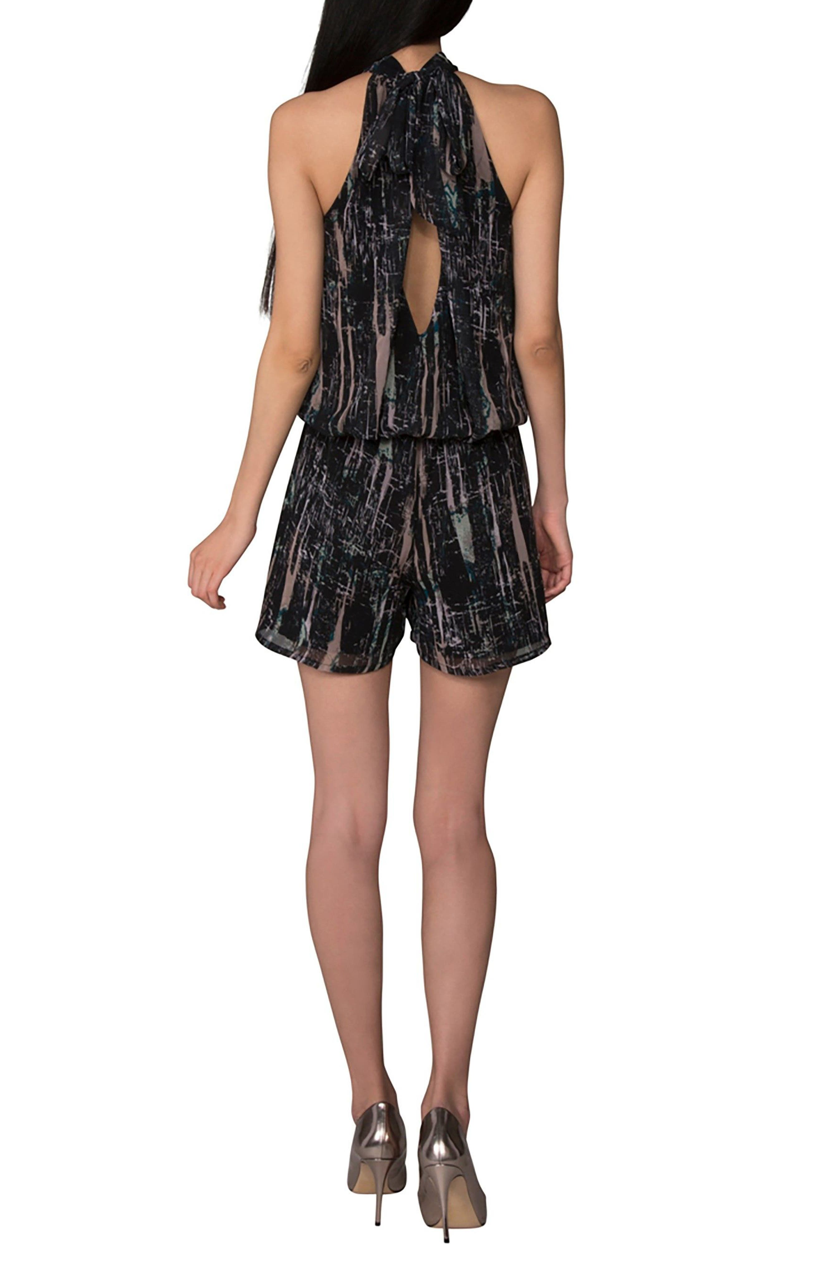 Bow Back Blouson Romper,                             Alternate thumbnail 2, color,                             BLACK SPLATTER
