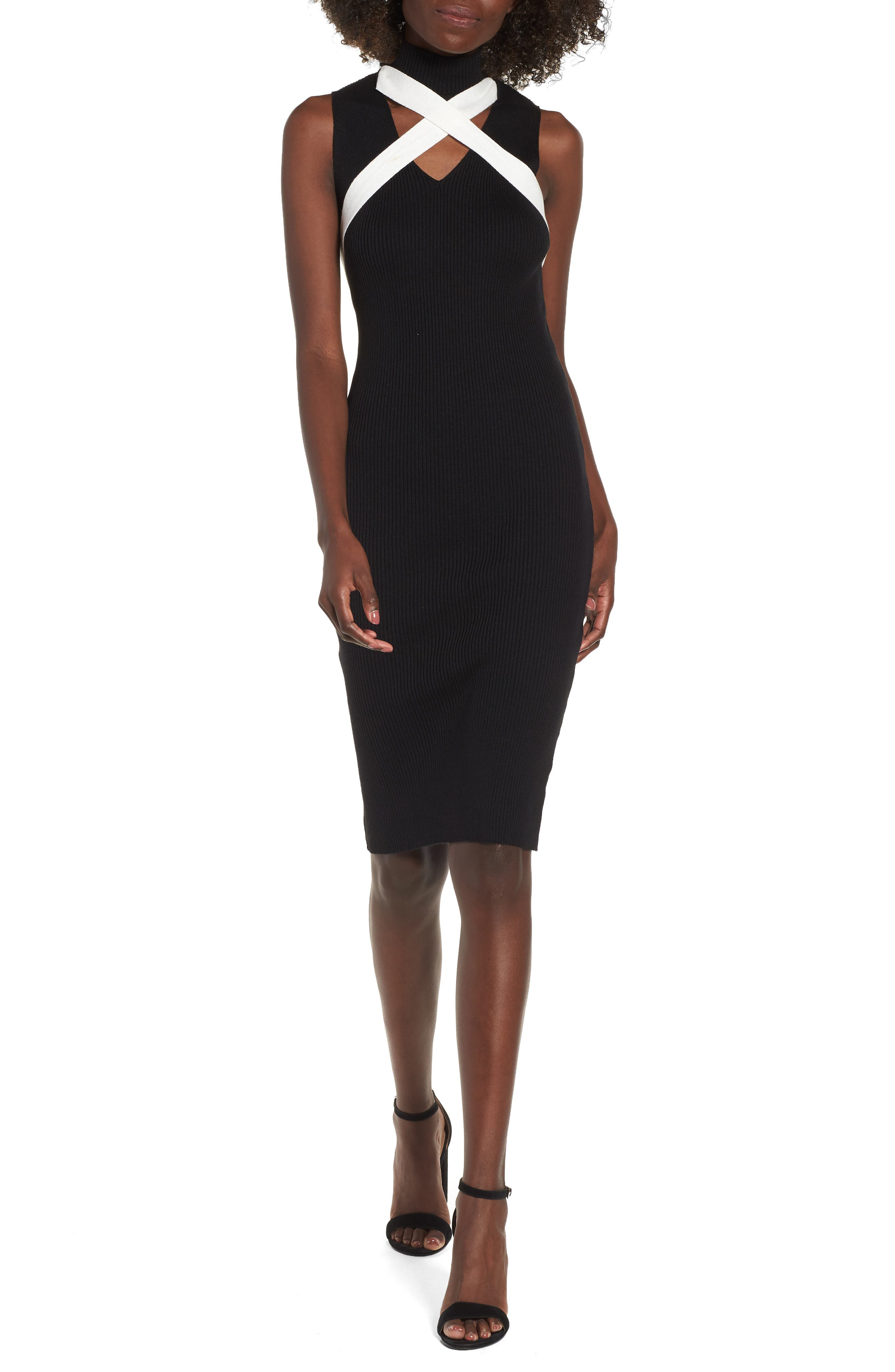 Crisscross Body-Con Dress,                             Main thumbnail 1, color,                             001