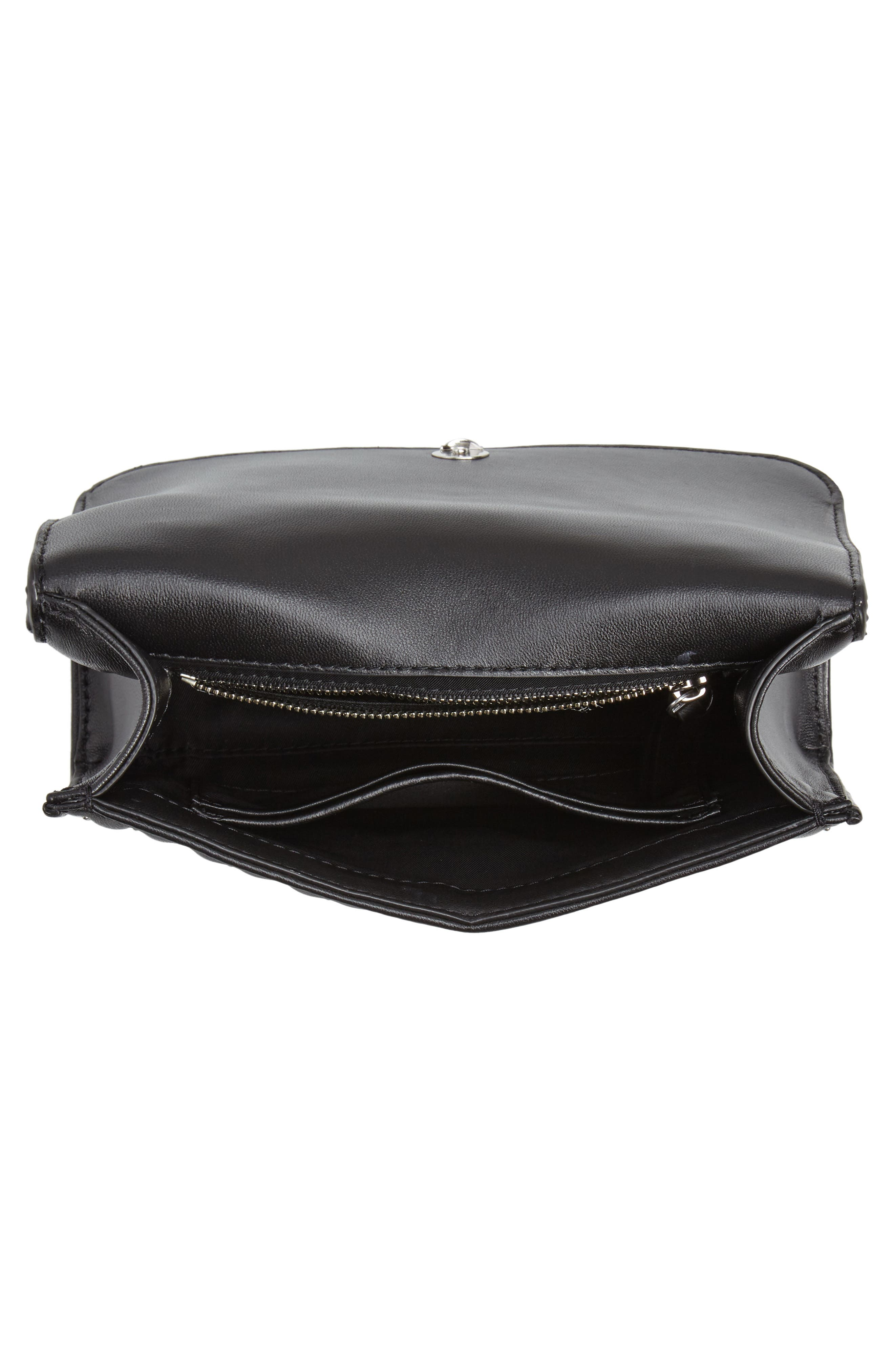 TORY BURCH,                             Small Fleming Studded Leather Convertible Shoulder Bag,                             Alternate thumbnail 4, color,                             BLACK / SILVER