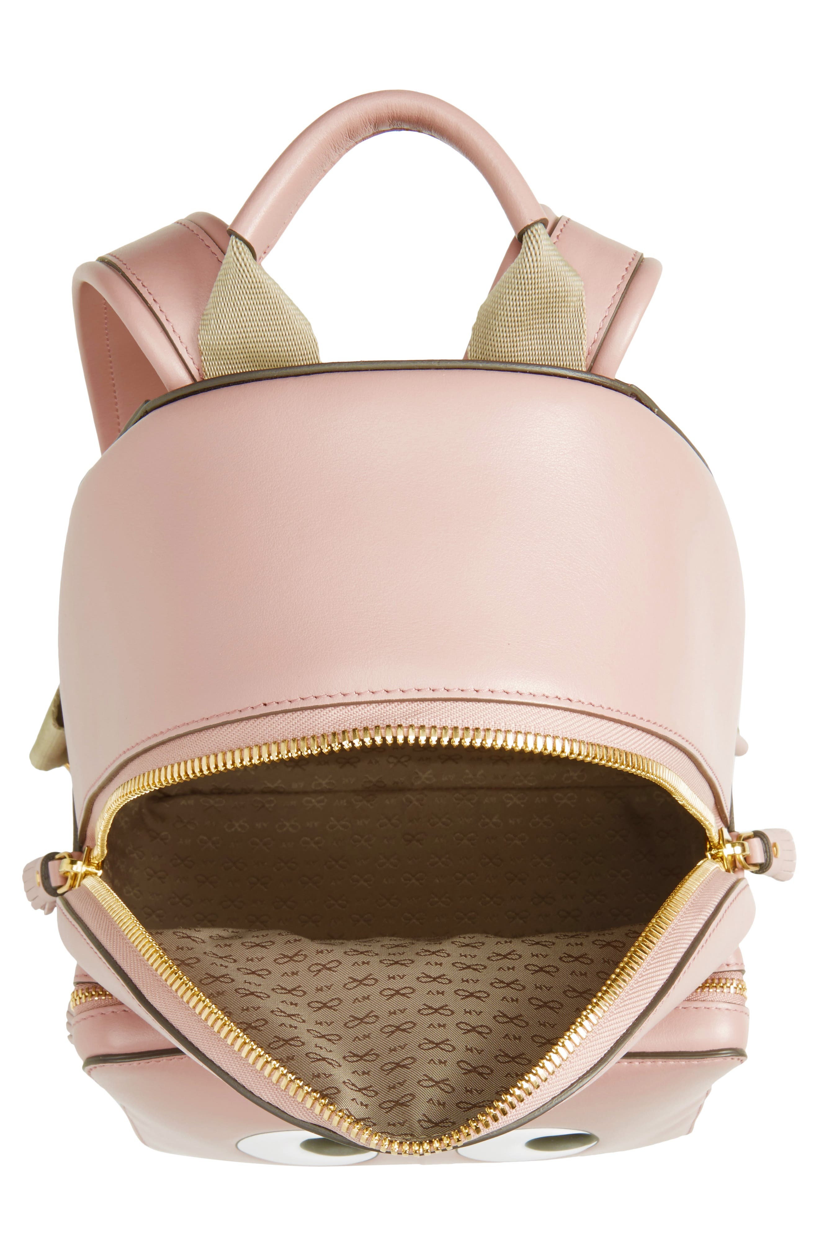 ANYA HINDMARCH,                             Eyes Mini Leather Backpack,                             Alternate thumbnail 4, color,                             650