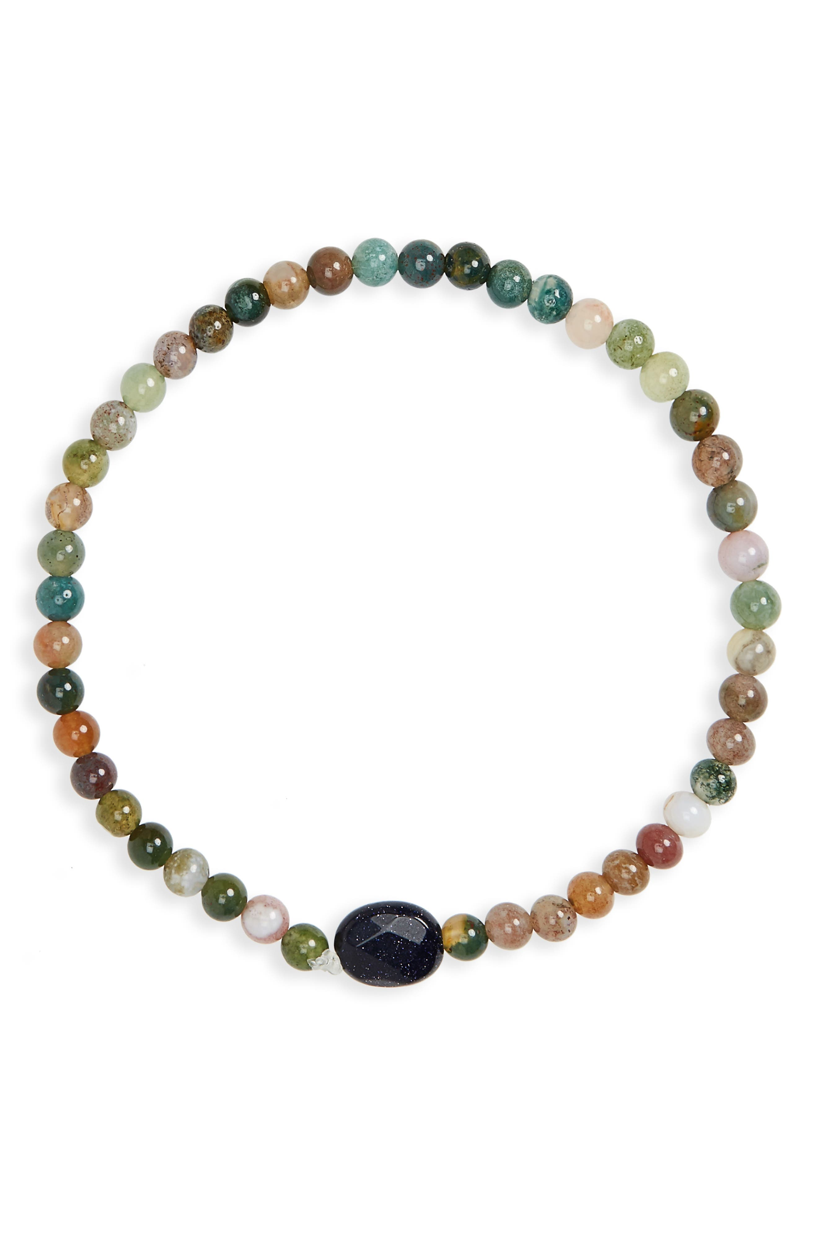Jasper Bead Bracelet,                         Main,                         color, GREEN/ BROWN
