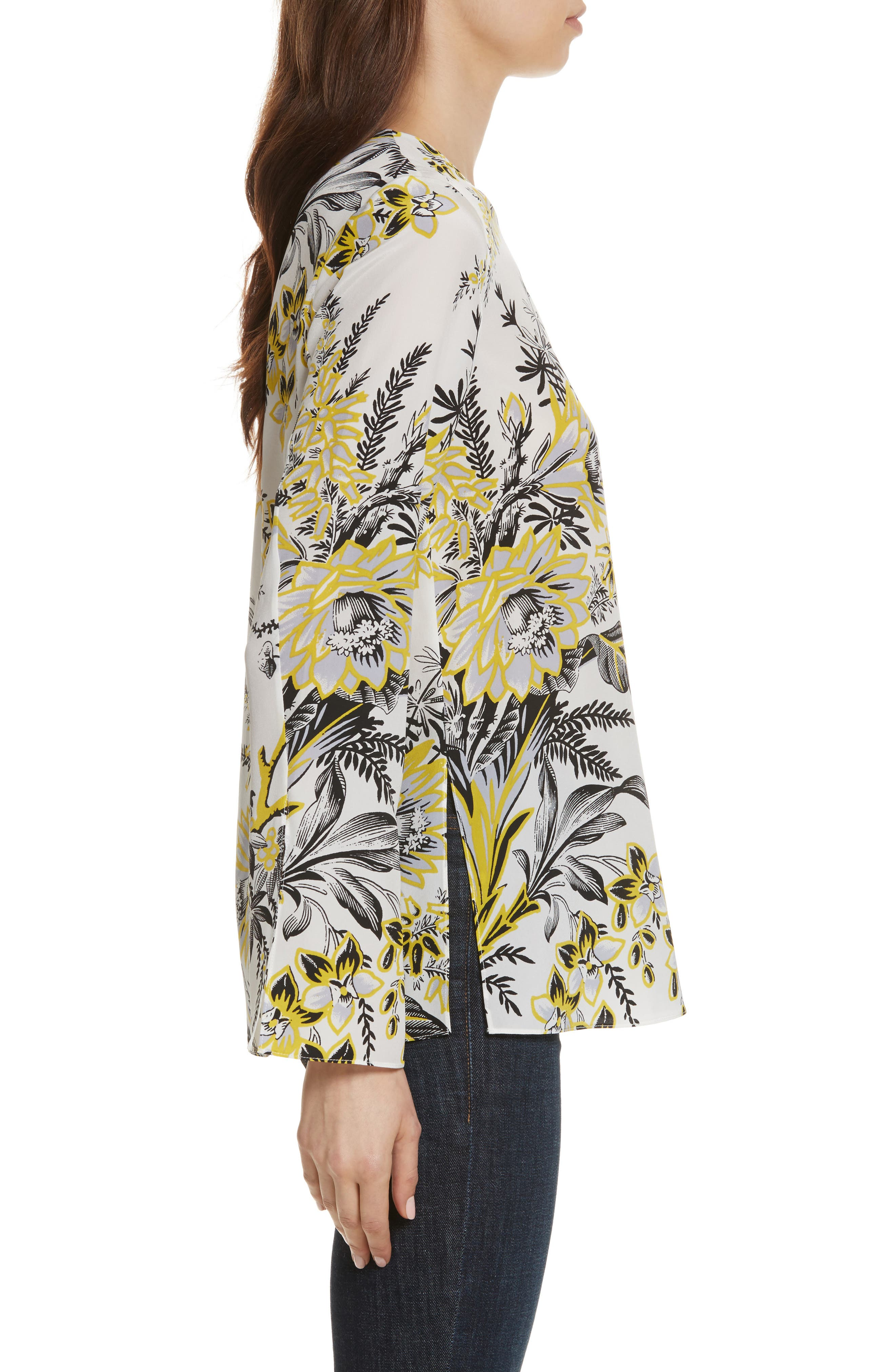 Diane von Furstenberg Side Slit Silk Blouse,                             Alternate thumbnail 5, color,