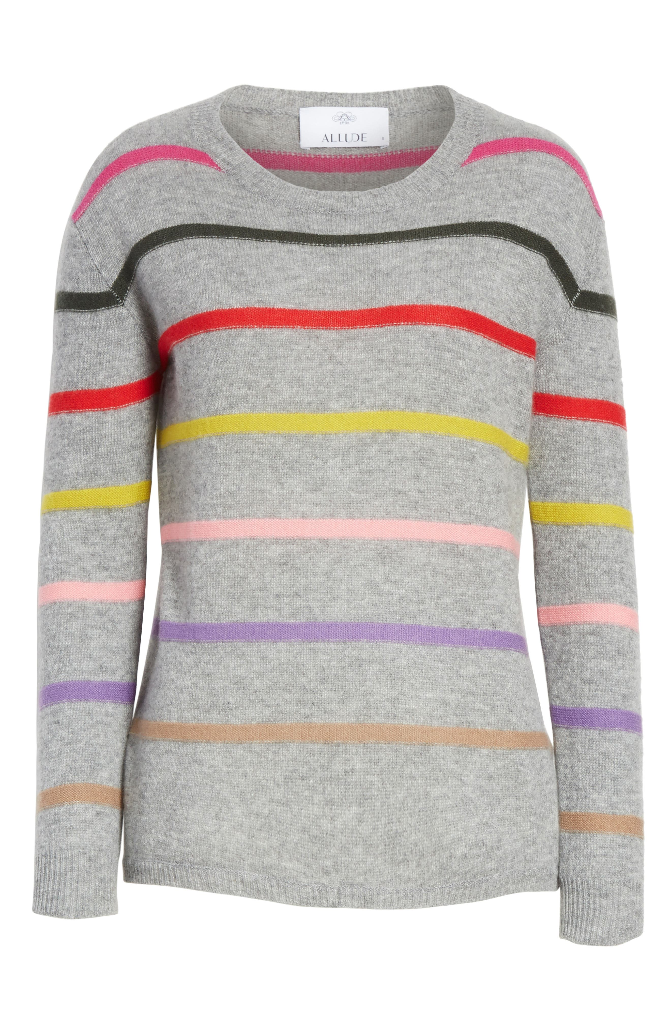 Stripe Cashmere Sweater,                             Alternate thumbnail 6, color,                             021