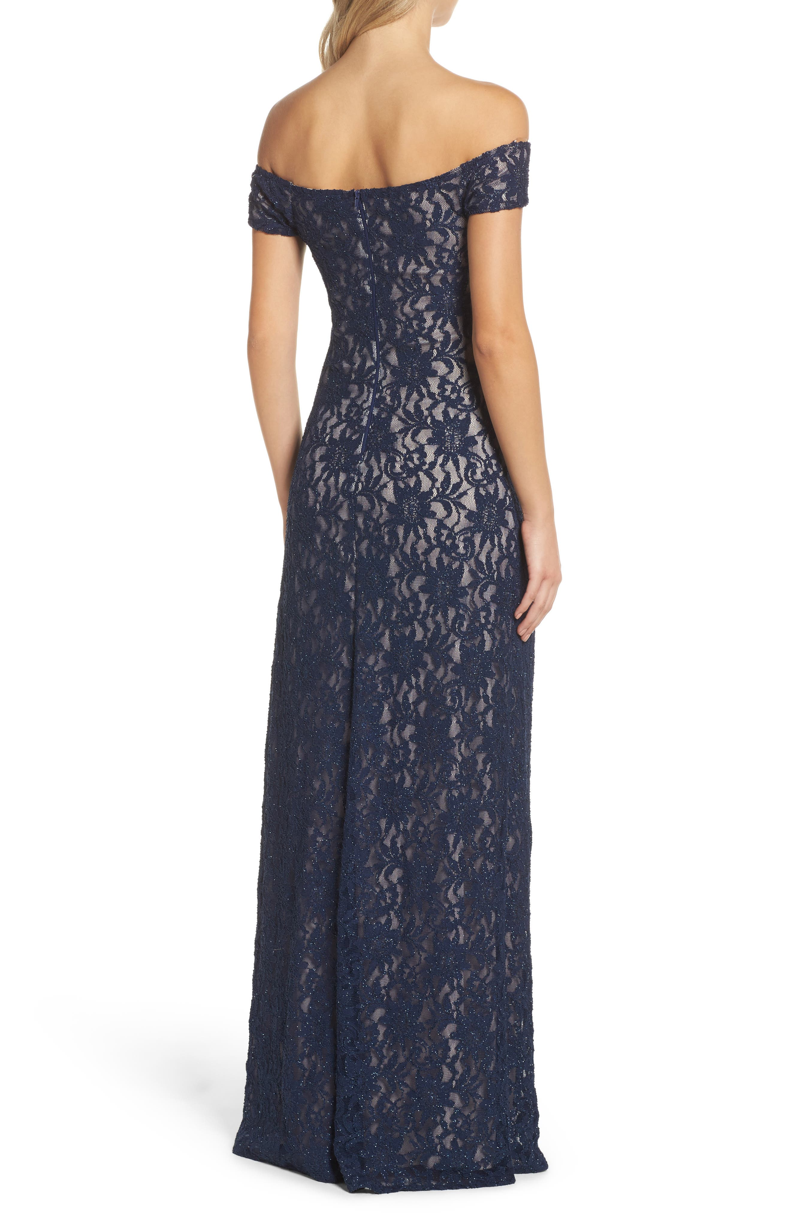 Off the Shoulder Glitter Lace Gown,                             Alternate thumbnail 2, color,