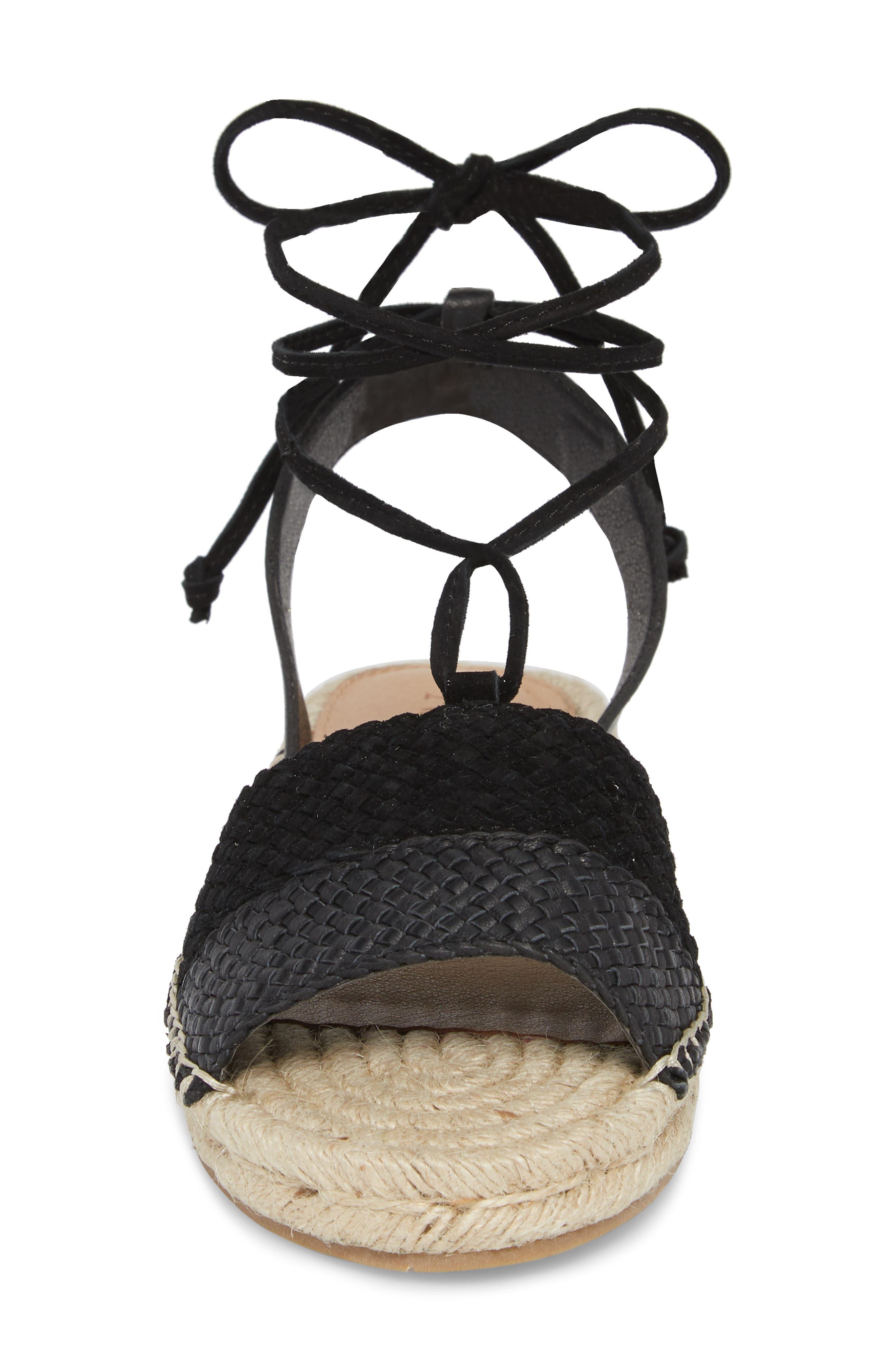 Eliza Ankle Wrap Espadrille Sandal,                             Alternate thumbnail 4, color,                             BLACK FABRIC