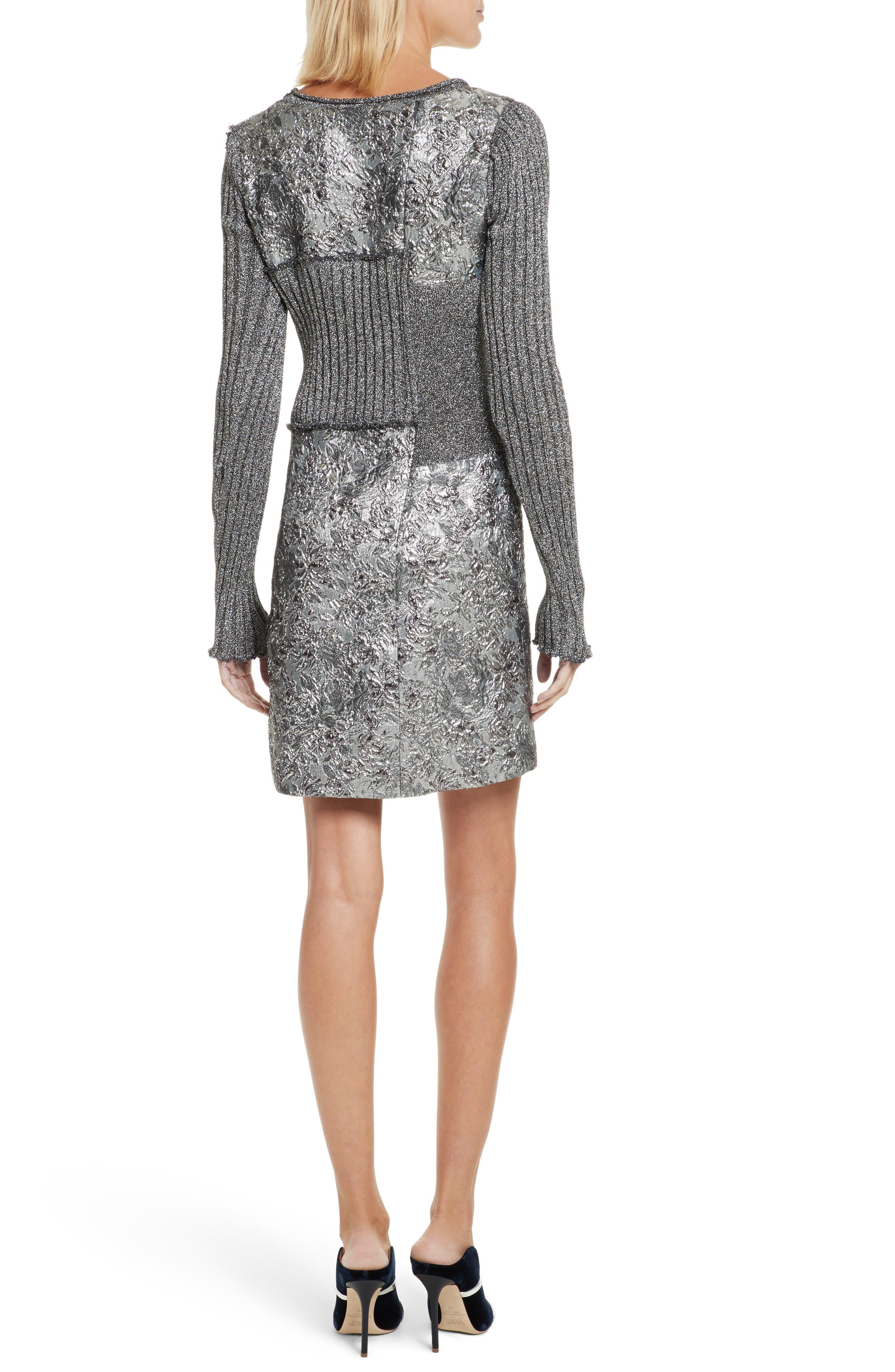 Mixed Media Metallic Sweater Dress,                             Alternate thumbnail 2, color,                             040