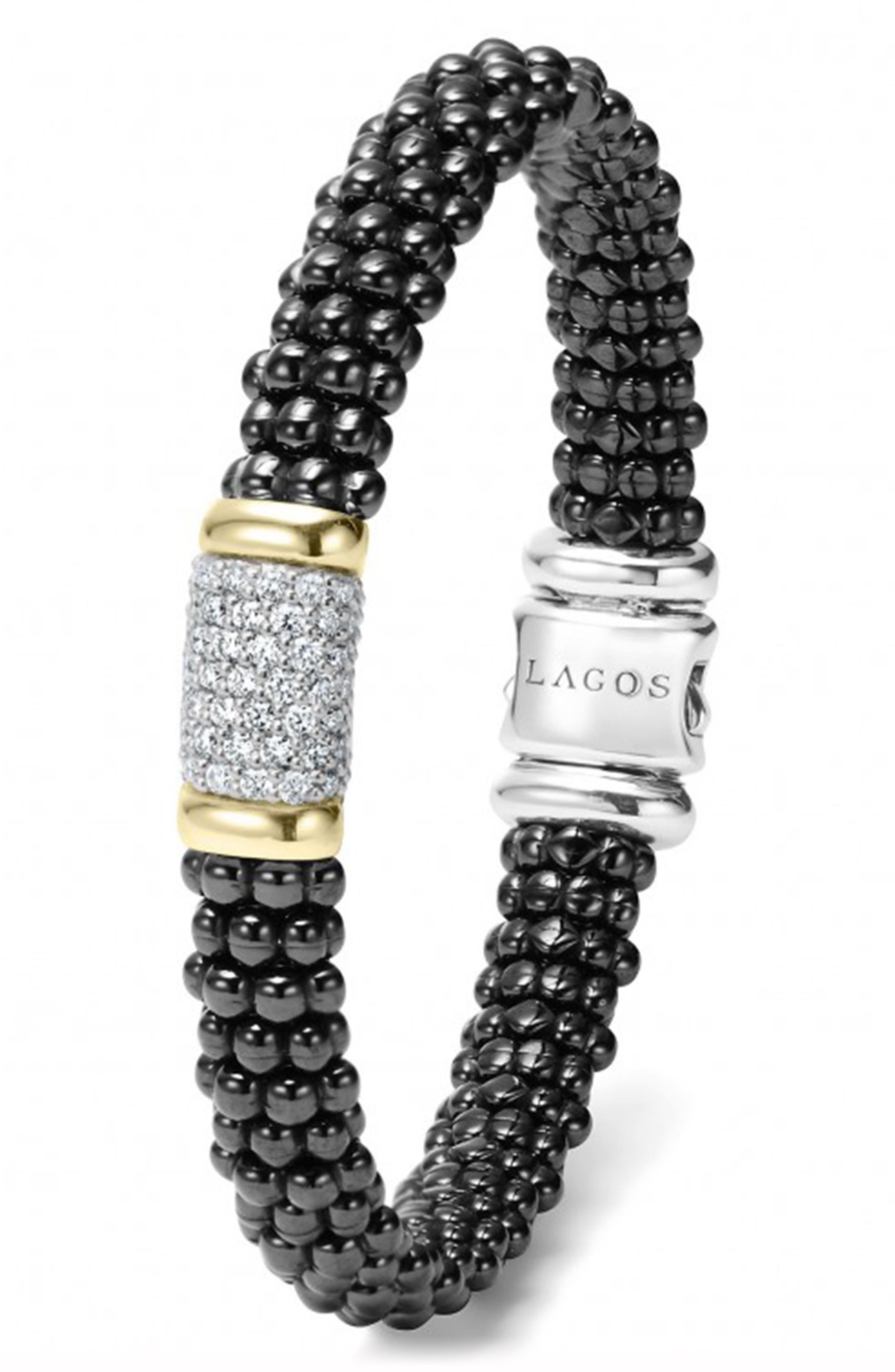 Black Caviar Diamond Pavé Rope Bracelet,                             Alternate thumbnail 3, color,                             BLACK CAVIAR/ GOLD