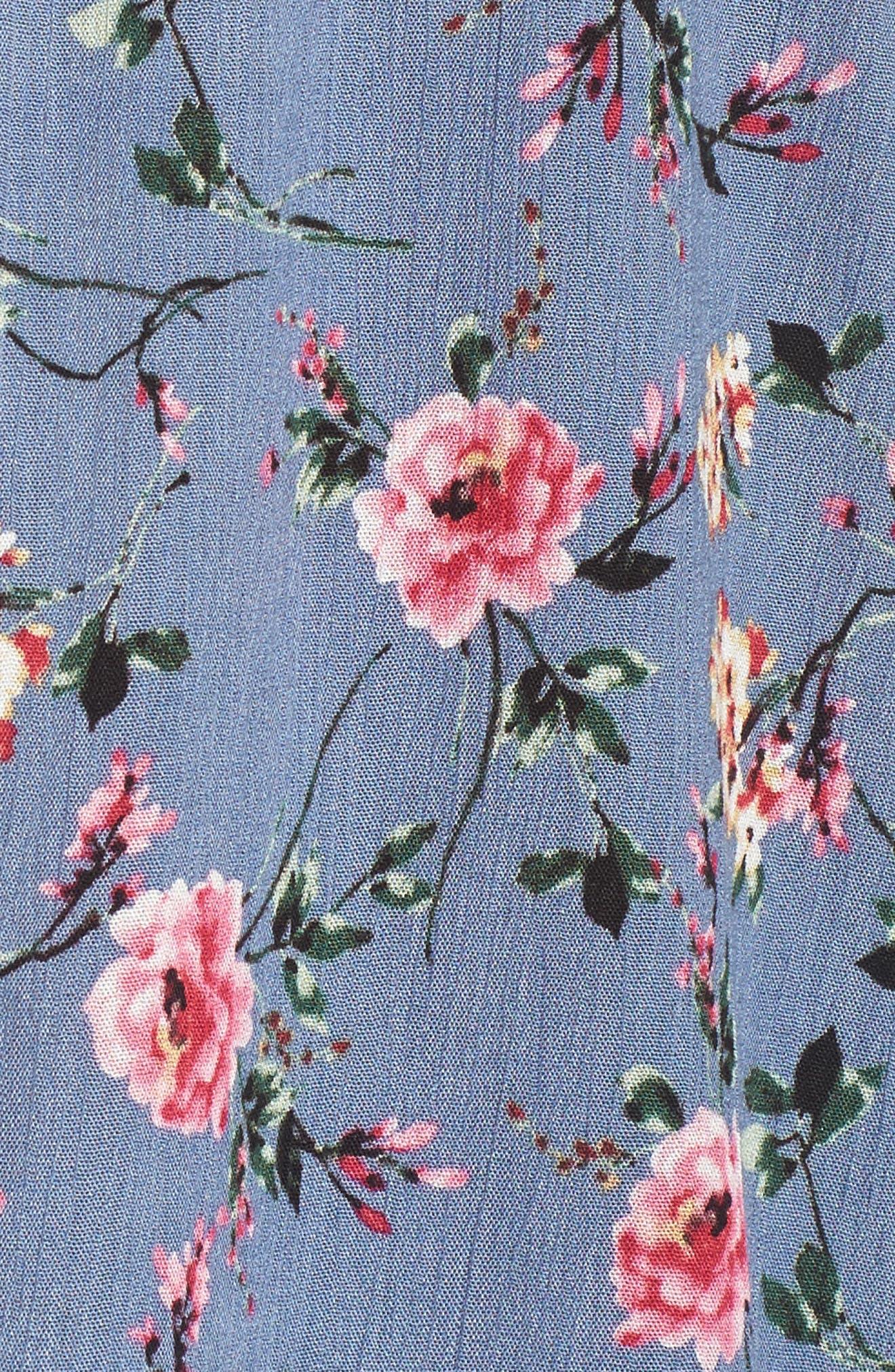 Floral Print High/Low Peasant Blouse,                             Alternate thumbnail 14, color,