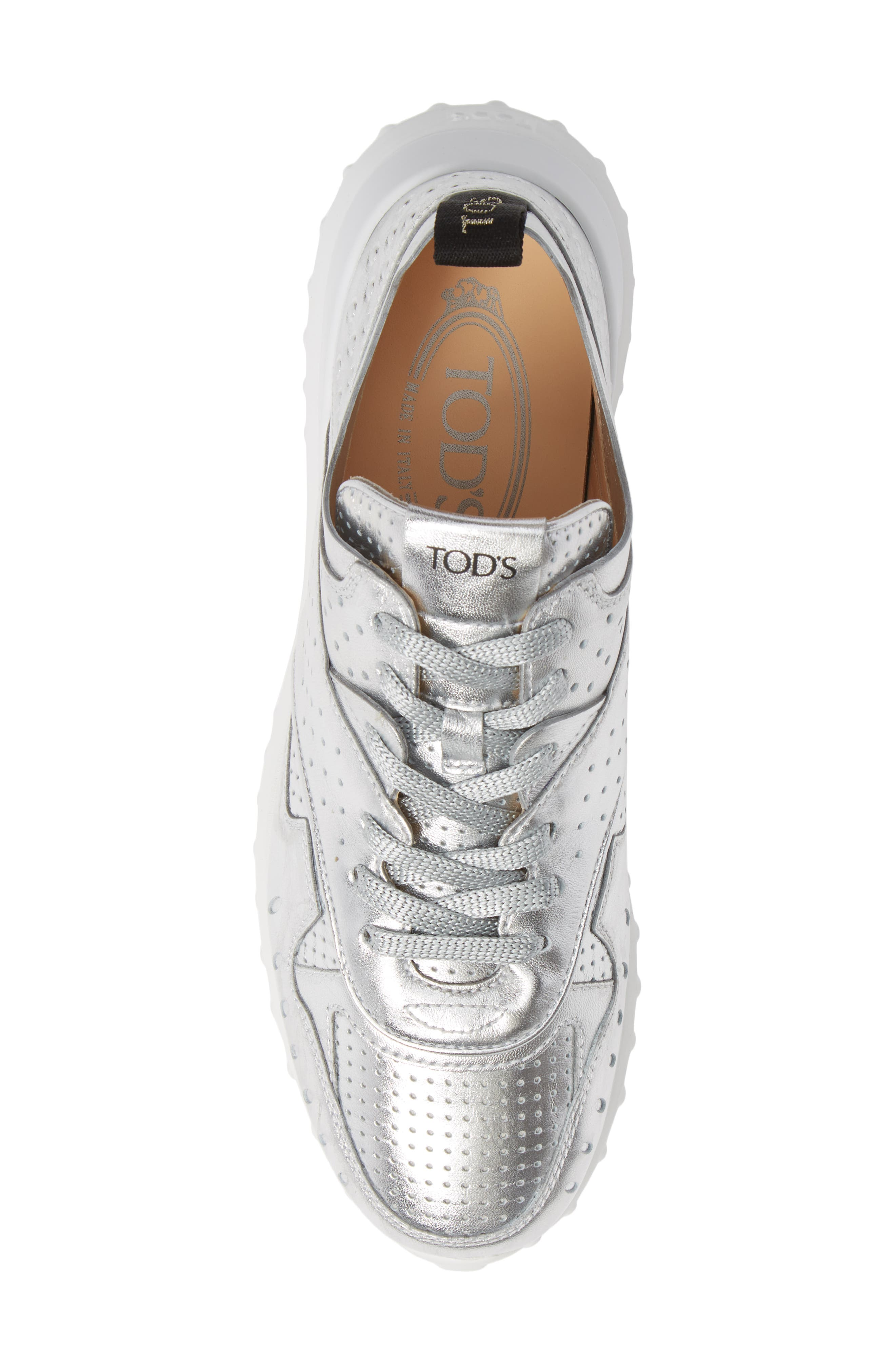 Perforated Lace-Up Sneaker,                             Alternate thumbnail 5, color,                             SILVER