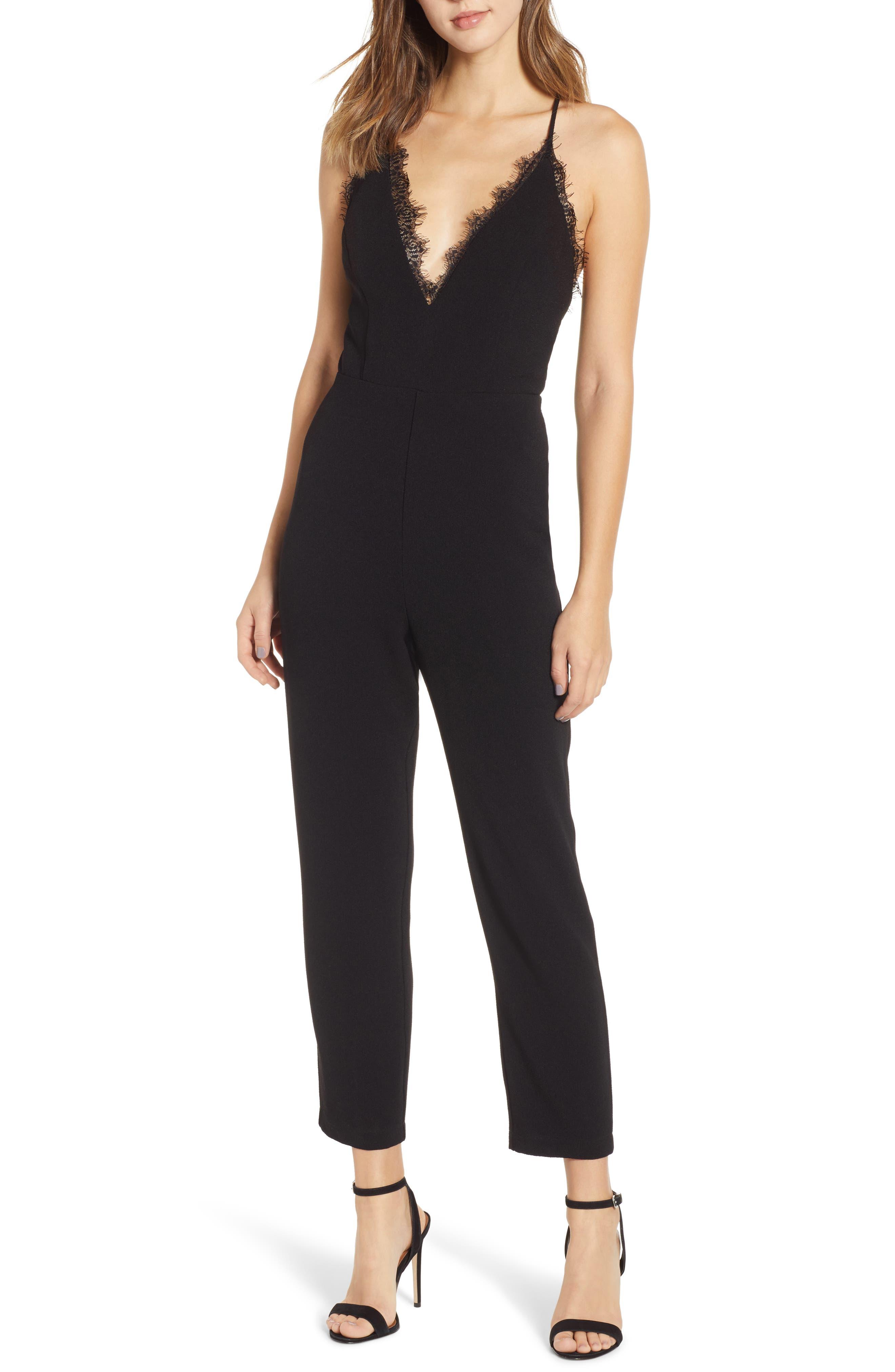 LEITH Deep V-Neck Lace Trim Jumpsuit, Main, color, BLACK