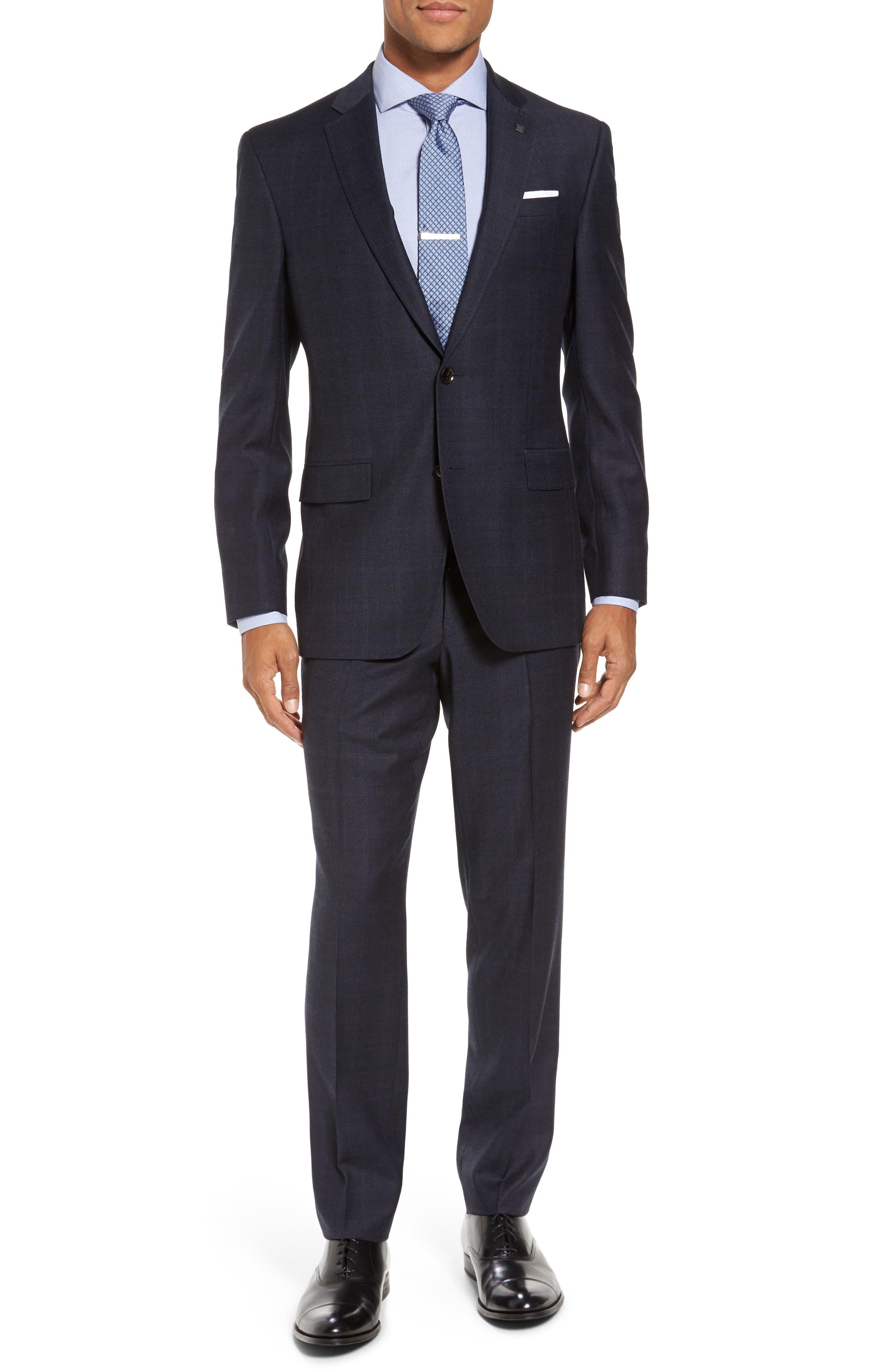 Jay Trim Fit Plaid Wool Suit,                         Main,                         color,