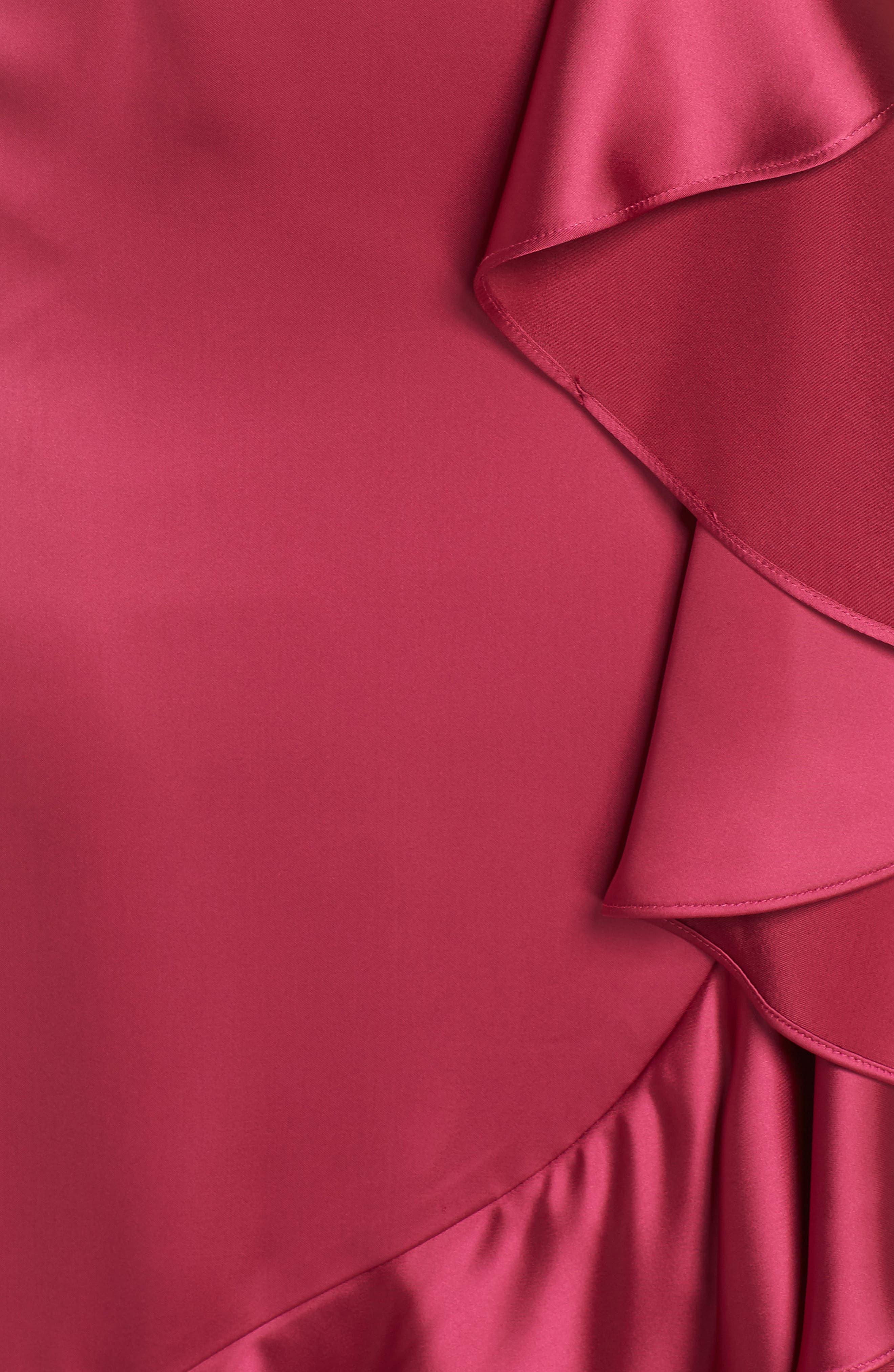 Satin High/Low Faux Wrap Gown,                             Alternate thumbnail 6, color,                             601