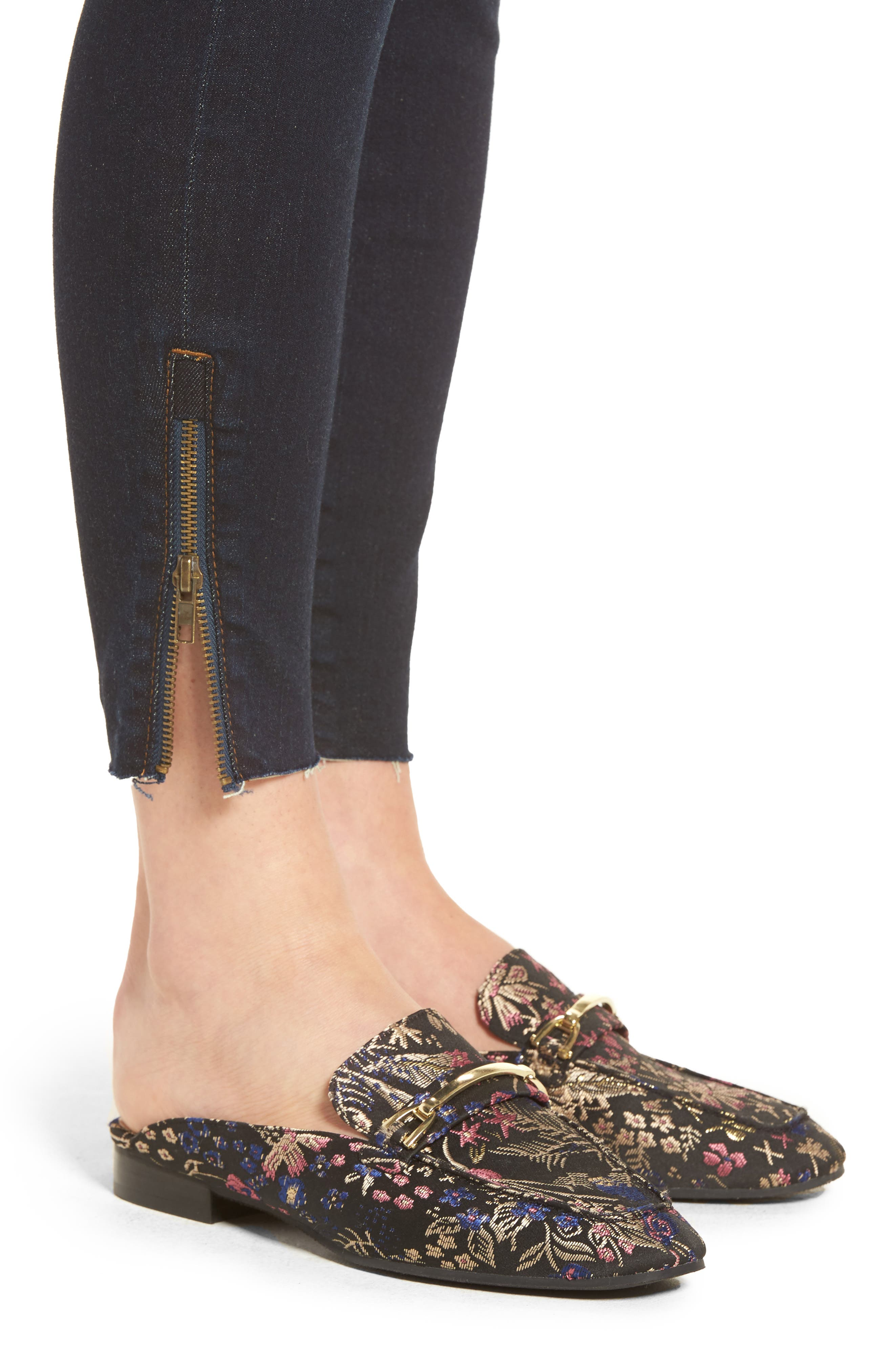 Connie Skinny Ankle Zip Hem Jeans,                             Alternate thumbnail 4, color,                             490