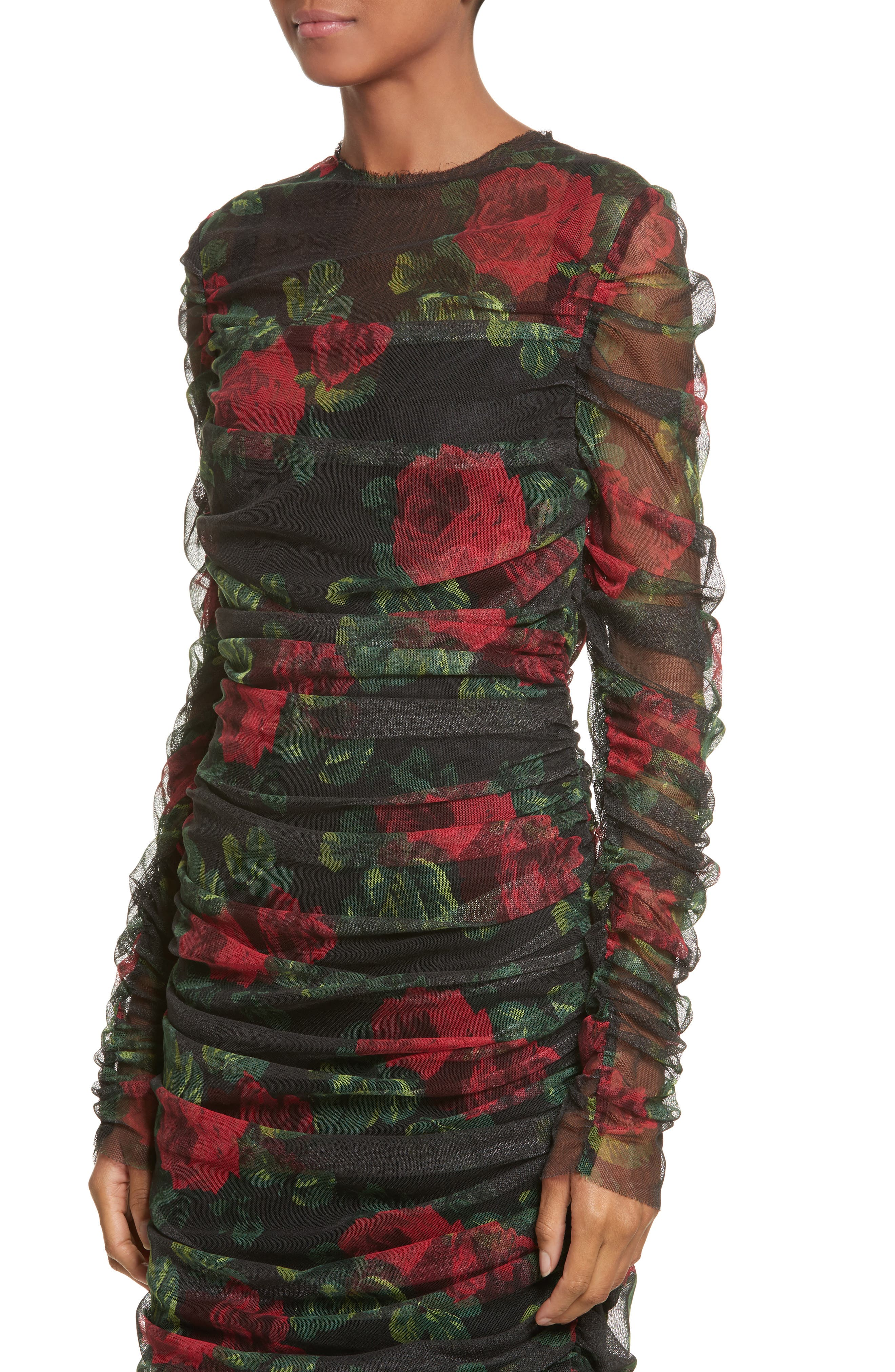 Rose Print Ruched Tulle Dress,                             Alternate thumbnail 4, color,                             001