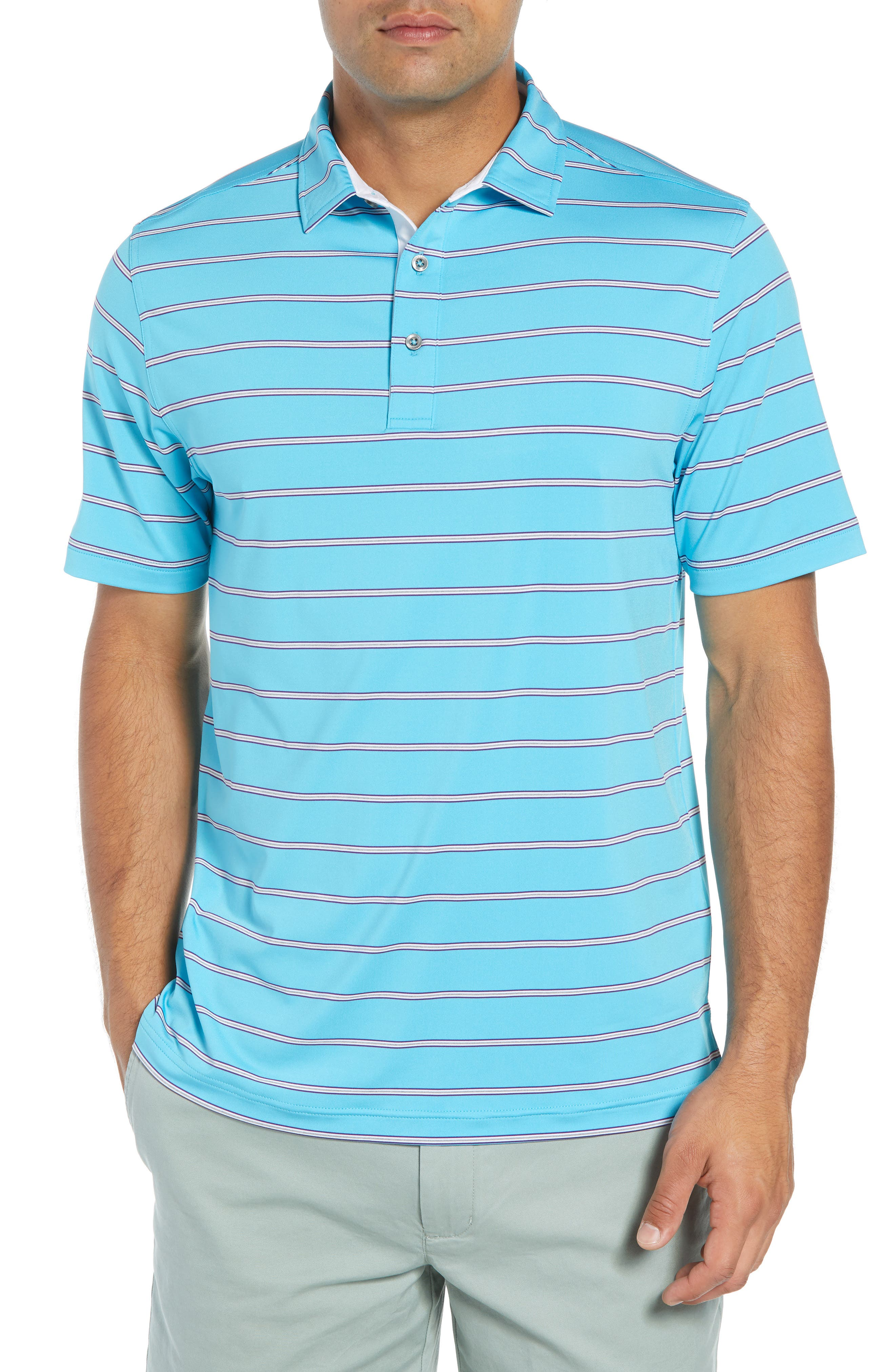 Ferry Stripe Classic Fit Golf Polo,                         Main,                         color, BLUE