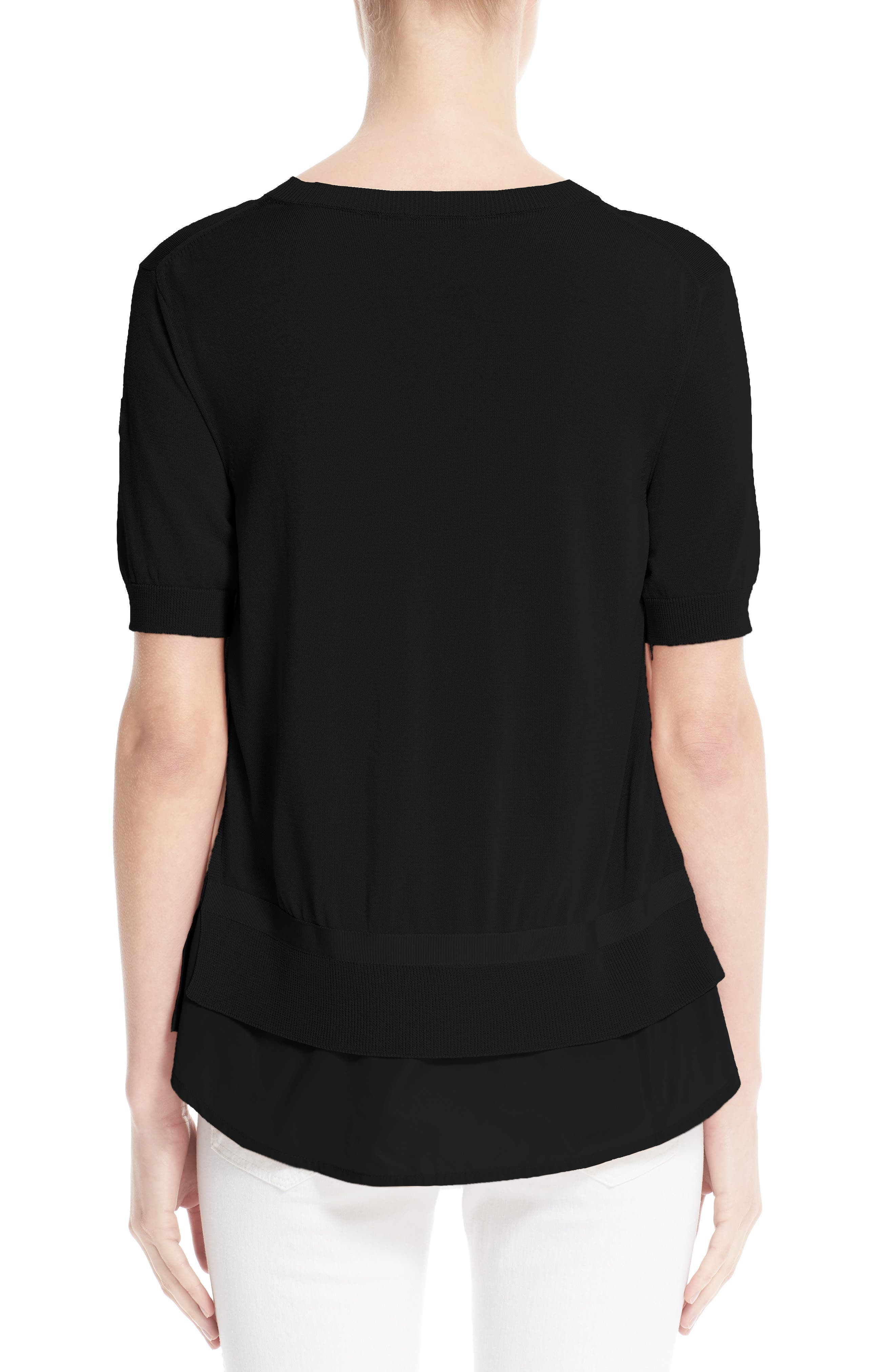 Tricot Knit Top,                             Alternate thumbnail 2, color,                             BLACK
