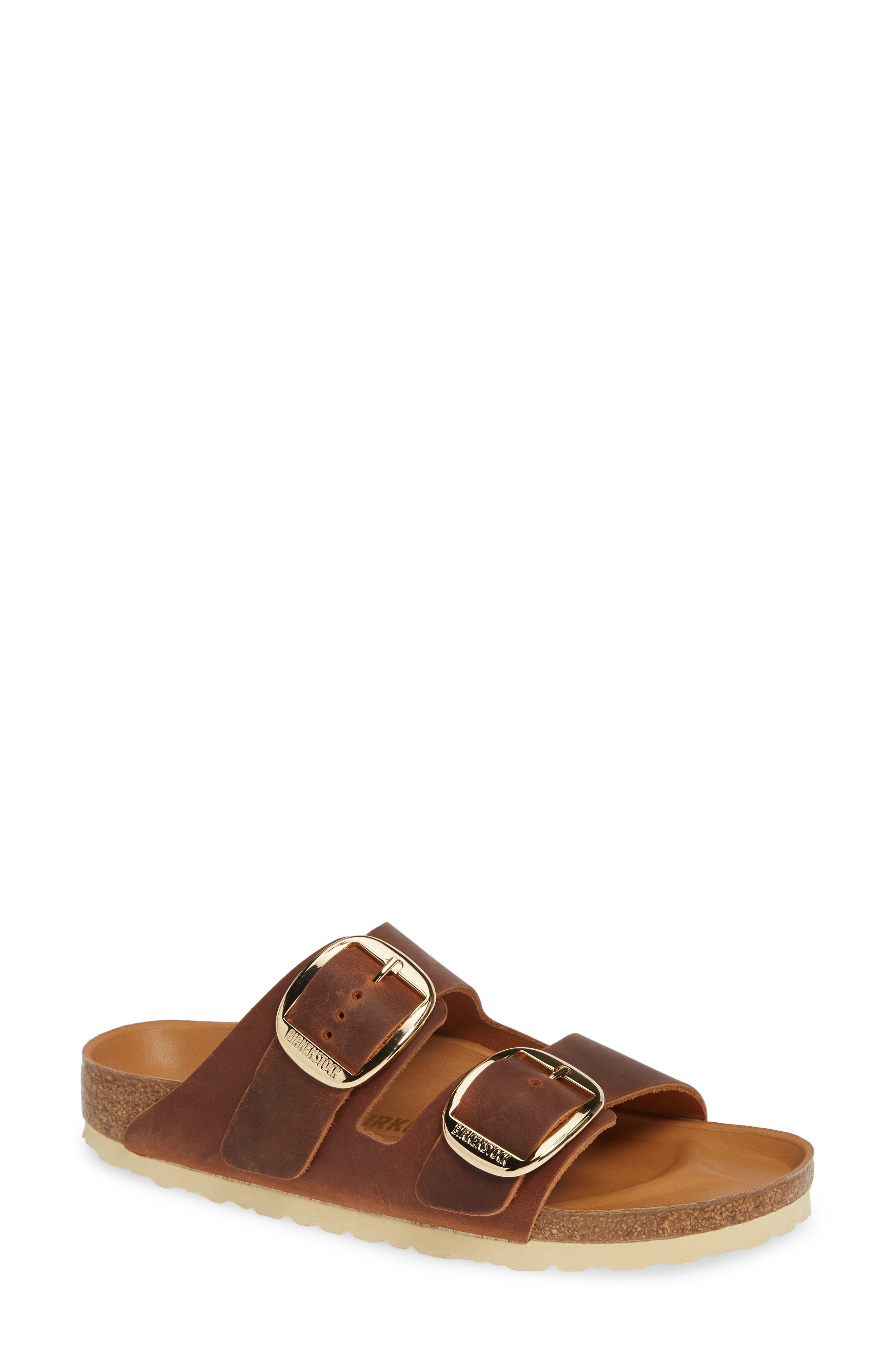 BIRKENSTOCK Women'S Arizona Big Buckle Leather Slide Sandals in Antique Cognac Oiled Leather