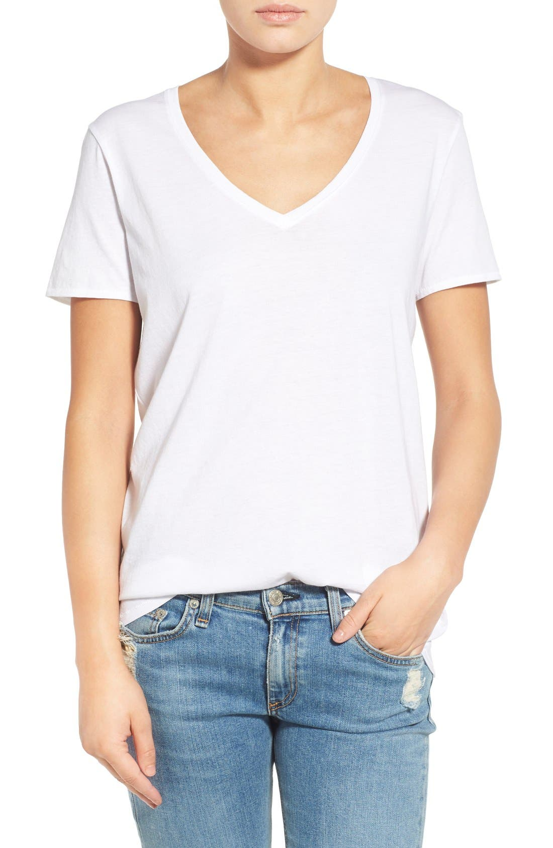 'Base' Cotton V-Neck Tee,                             Main thumbnail 1, color,                             101