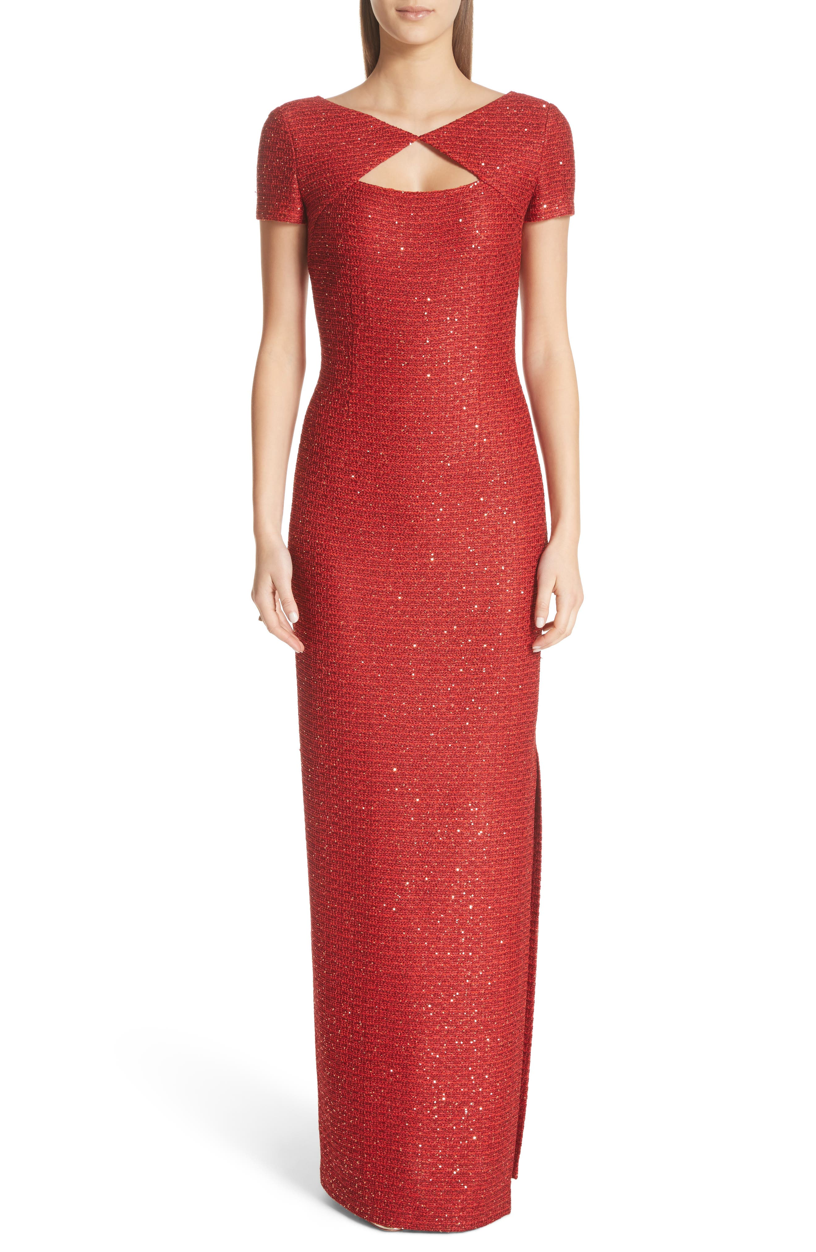 Red Evening Sequin Column Gown