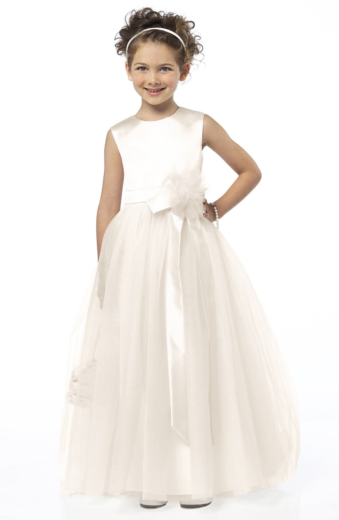 Sleeveless Satin & Tulle Flower Girl Dress,                         Main,                         color, 900