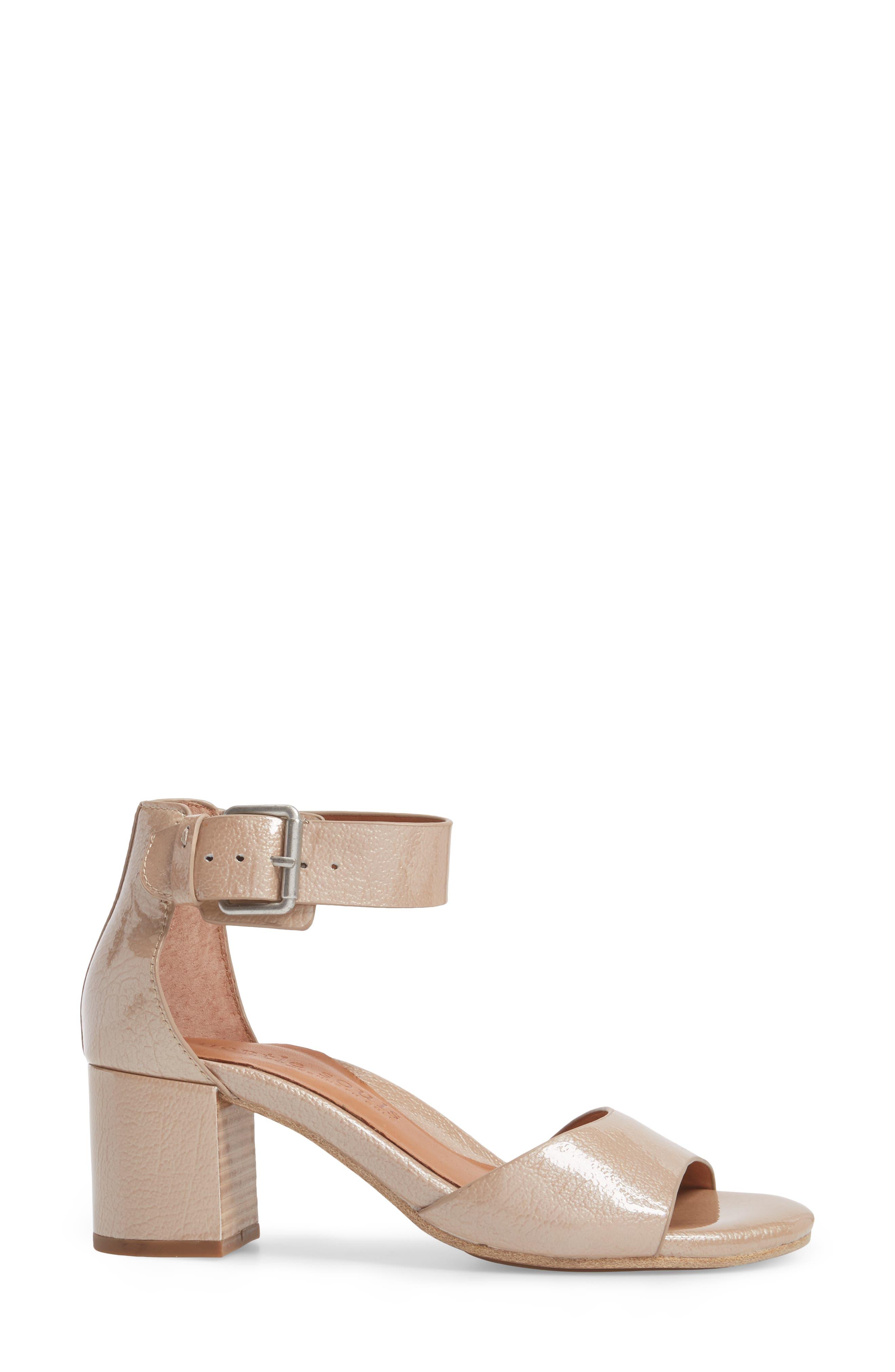 Christa Block Heel Sandal,                             Alternate thumbnail 3, color,                             NUDE PATENT LEATHER