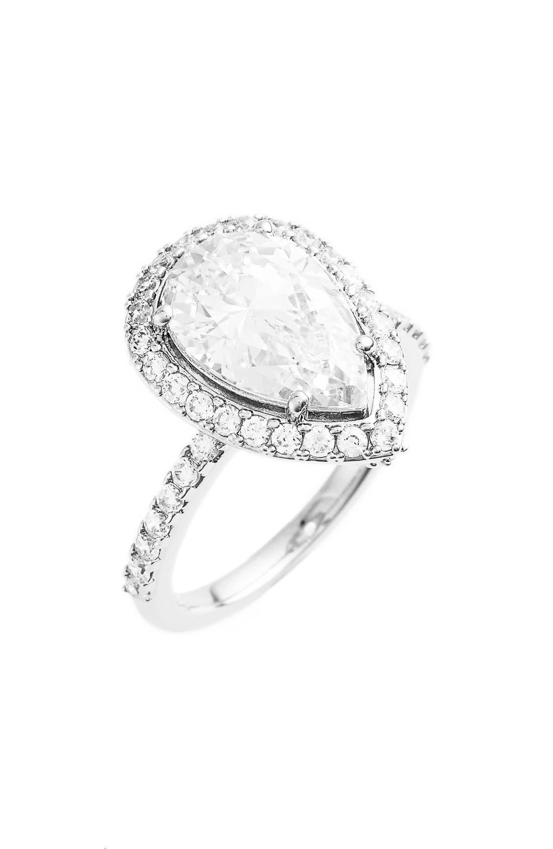 NADRI Pear Cut Cubic Zirconia Ring, Main, color, 040