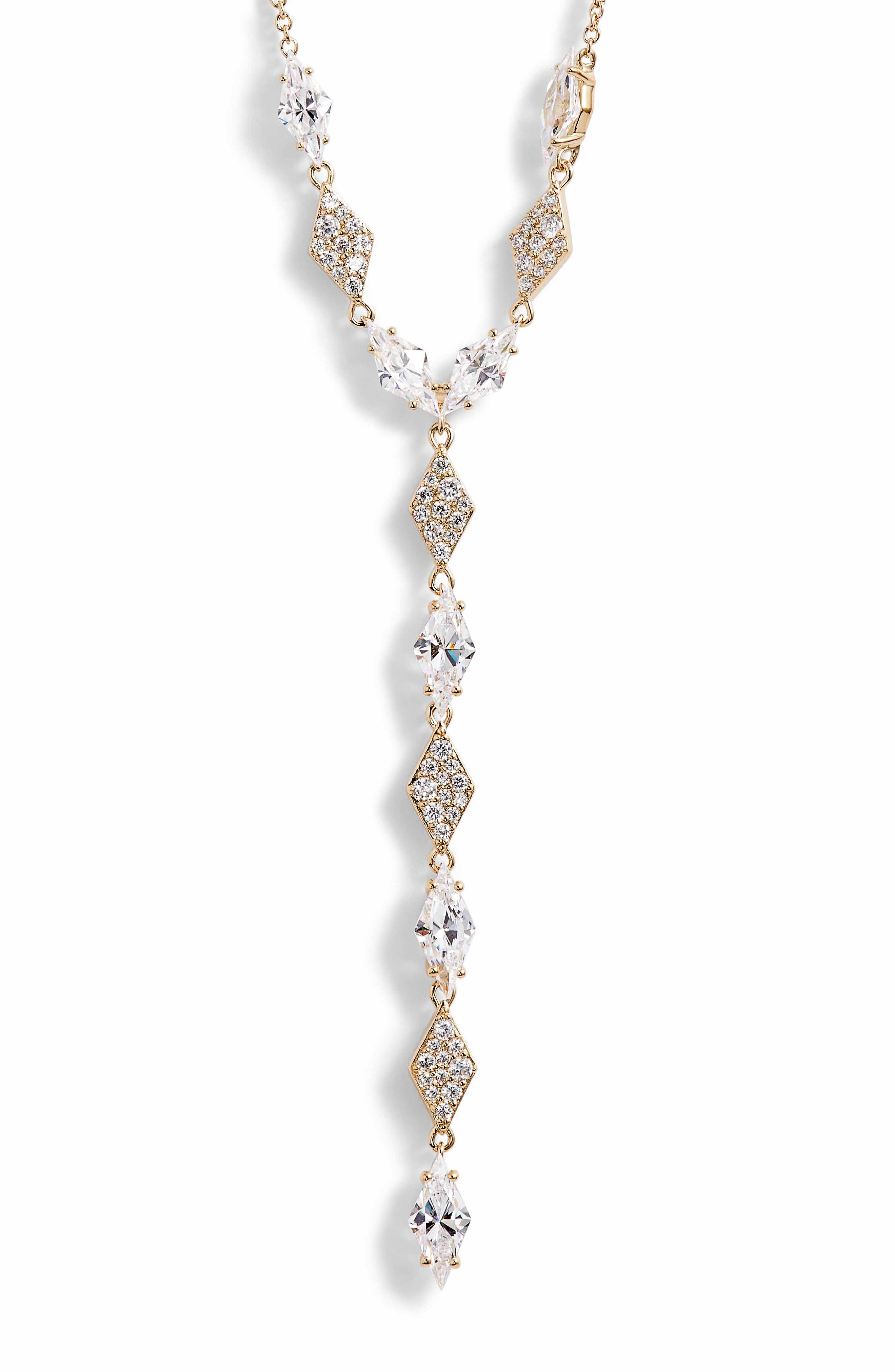 NADRI Luminous Cubic Zirconia Y-Necklace in Gold