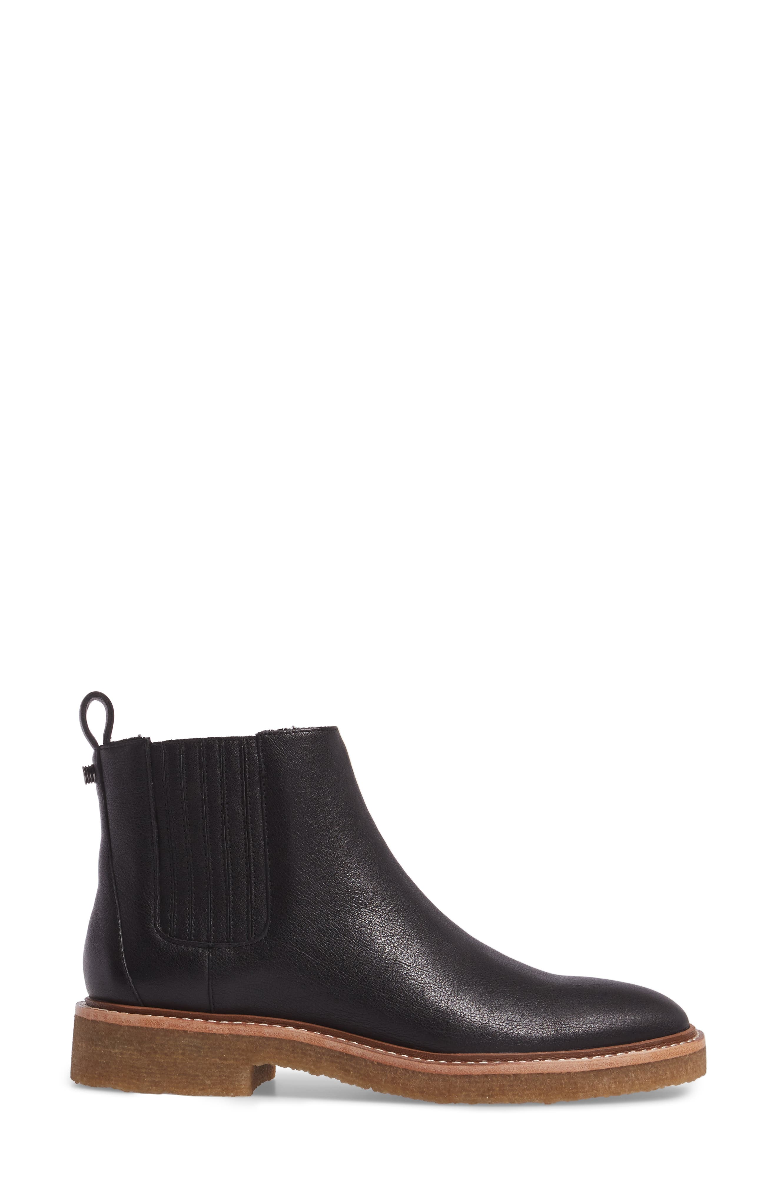 Chelsea Faux Shearling Lined Boot,                             Alternate thumbnail 3, color,                             BLACK LEATHER