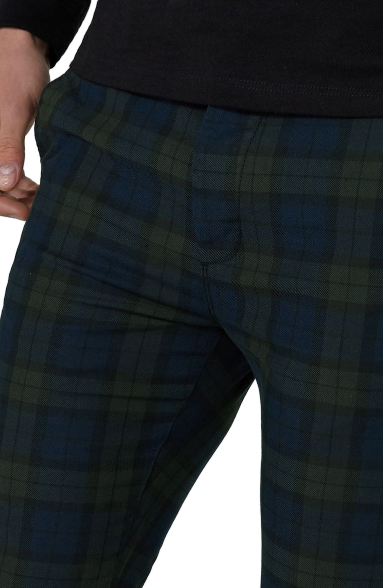 Black Watch Check Stretch Skinny Fit Trousers,                             Alternate thumbnail 3, color,                             340