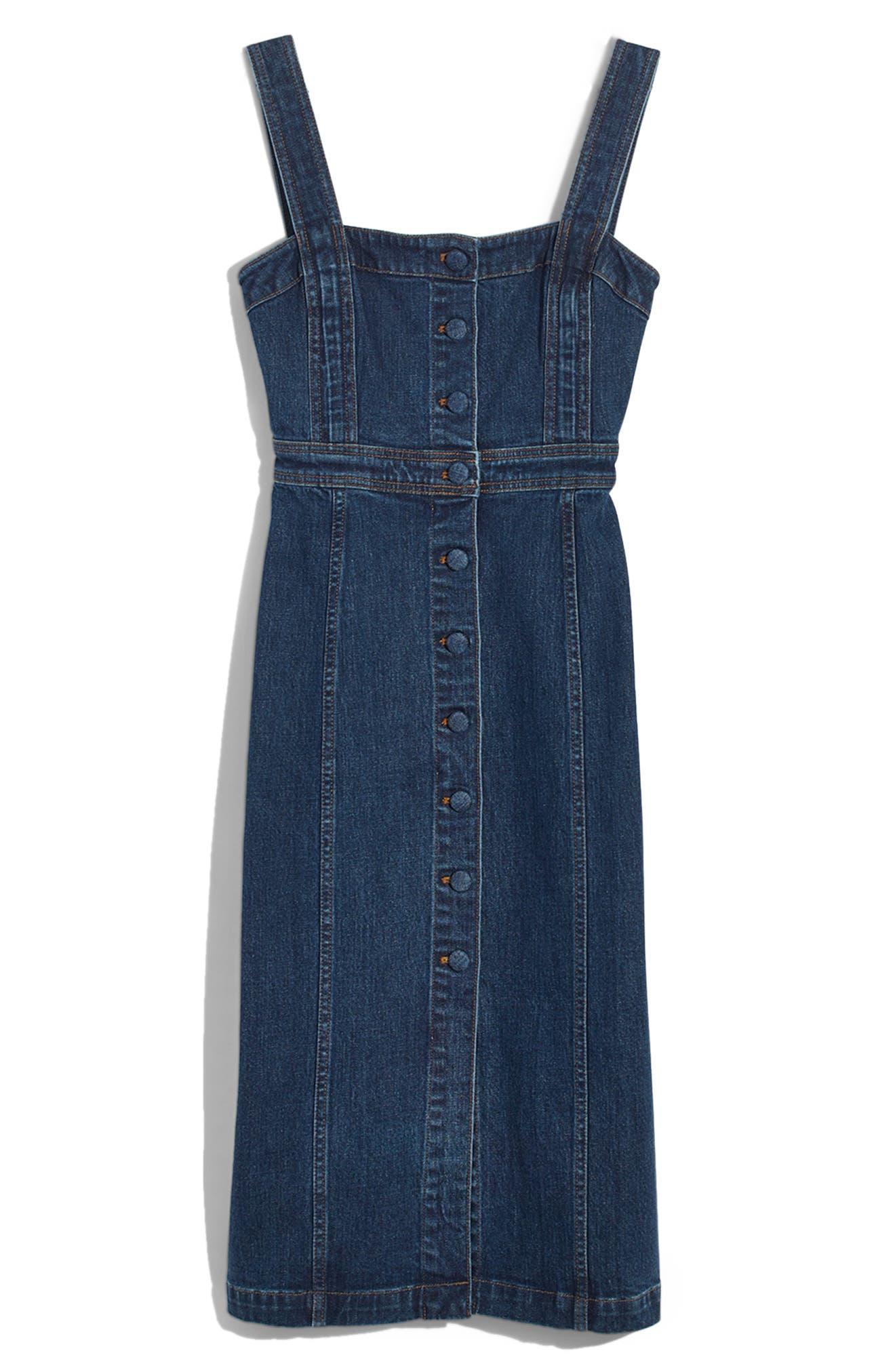 Denim Covered Button Dress,                             Main thumbnail 1, color,                             400