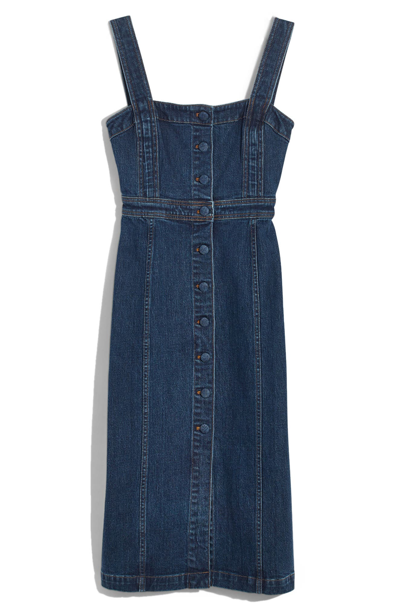 Denim Covered Button Dress, Main, color, 400