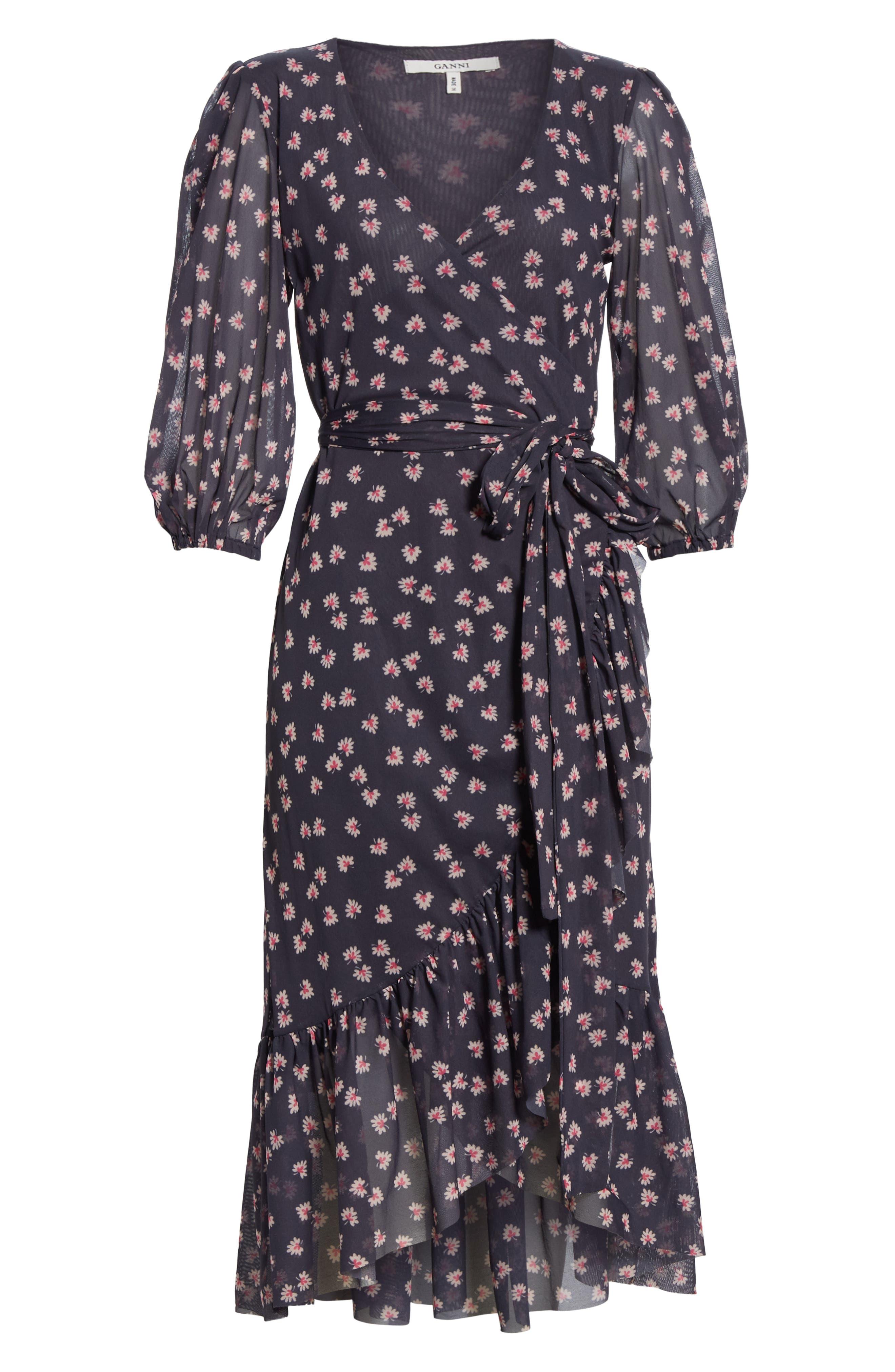 GANNI,                             Floral Print Wrap Dress,                             Alternate thumbnail 6, color,                             400