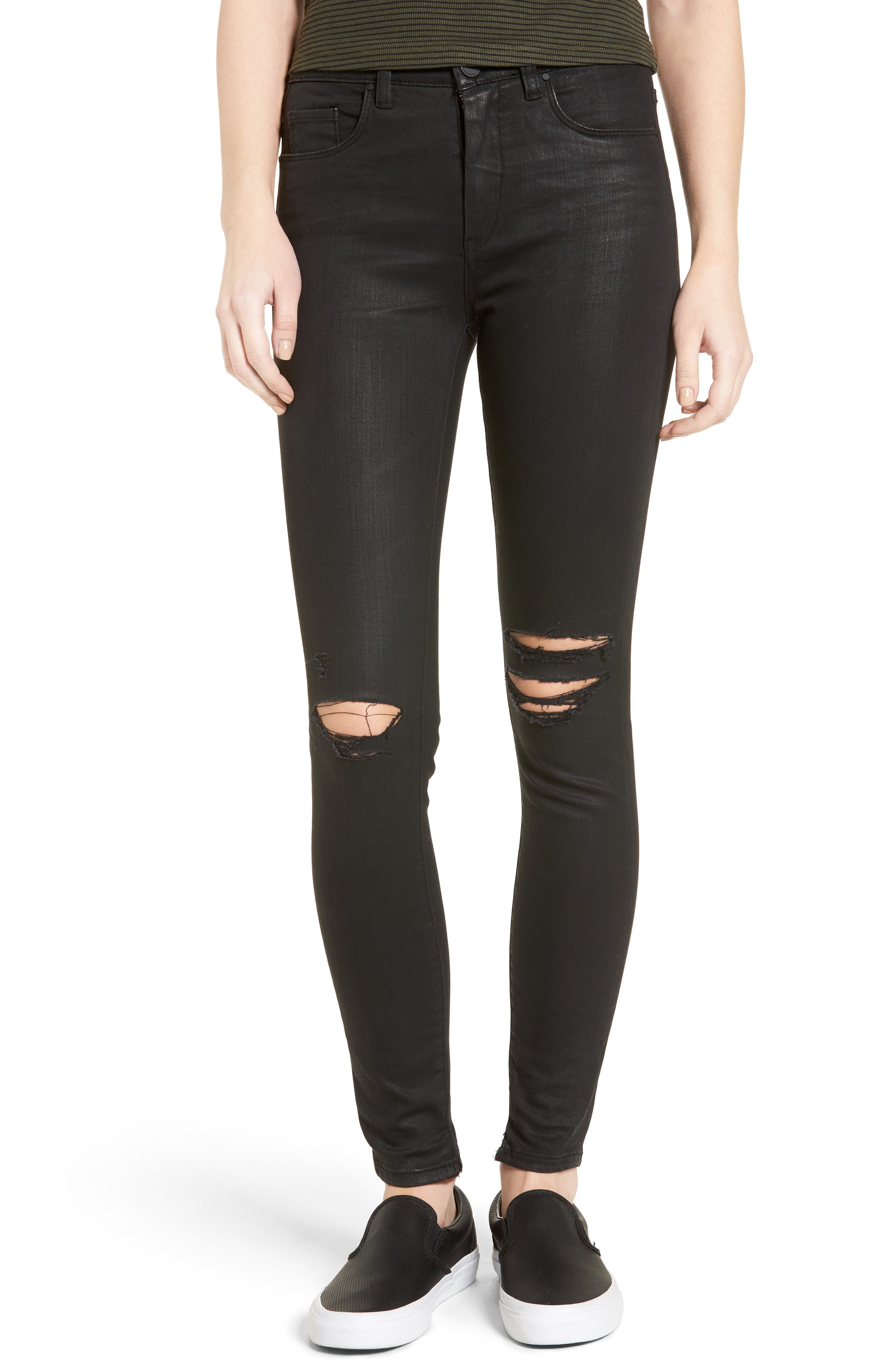 'All Lacquered Up' Coated Skinny Jeans,                             Main thumbnail 1, color,                             001