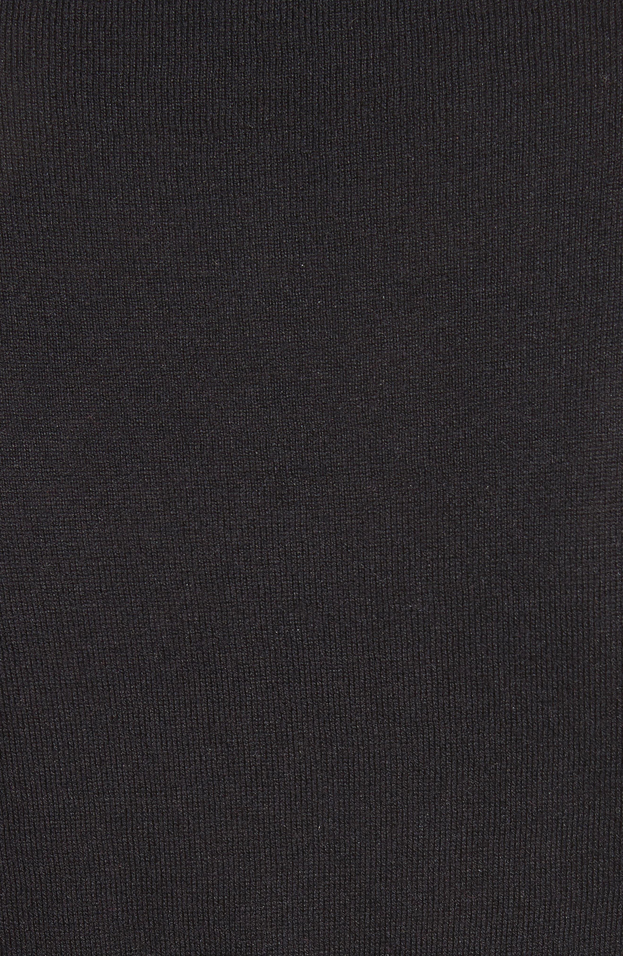 scallop silk blend cardigan,                             Alternate thumbnail 5, color,                             BLACK