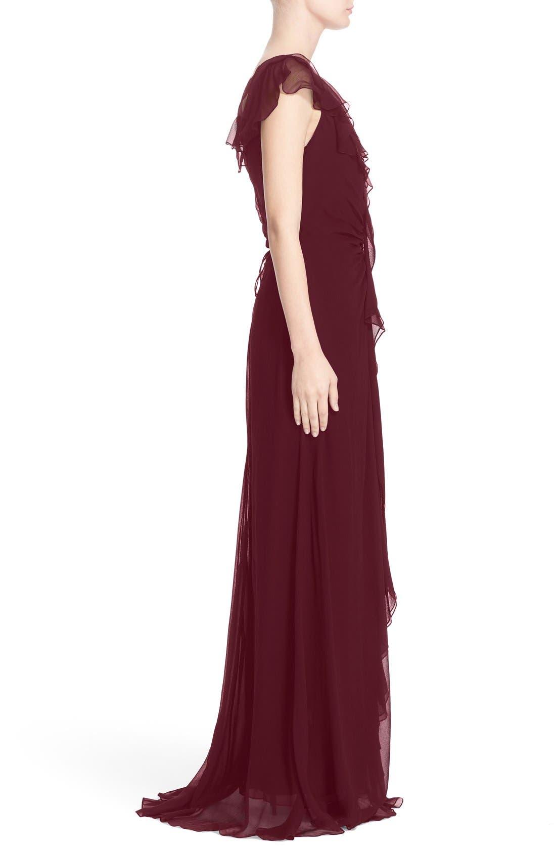Ruffle Detail Silk Chiffon V-Neck Gown,                             Alternate thumbnail 4, color,