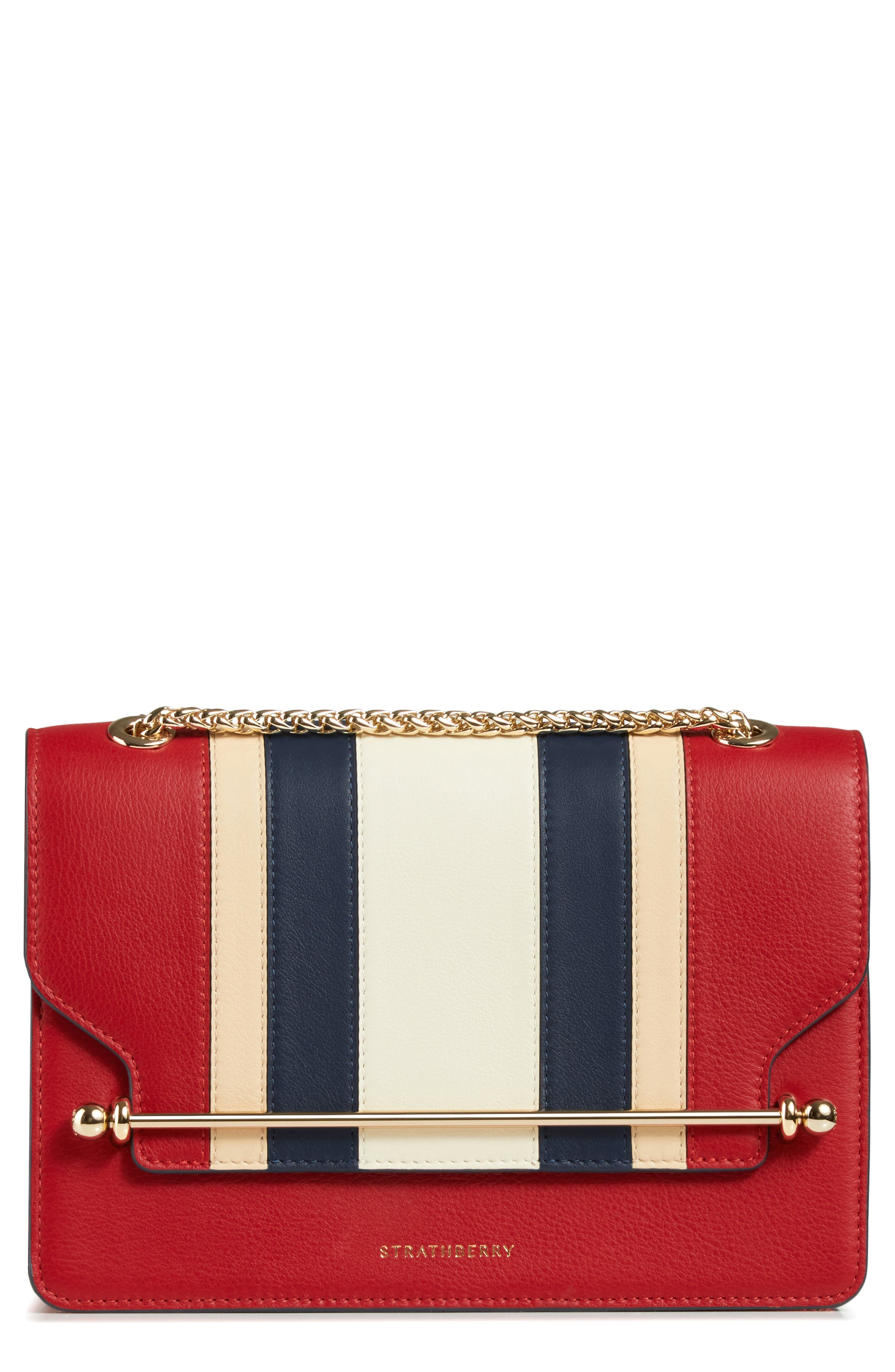 East/West Stripe Leather Crossbody Bag,                         Main,                         color, 600