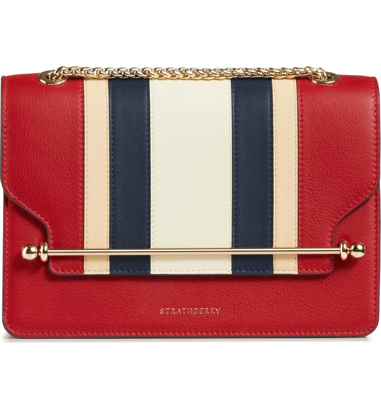 Strathberry EAST/WEST STRIPE LEATHER CROSSBODY BAG - RED