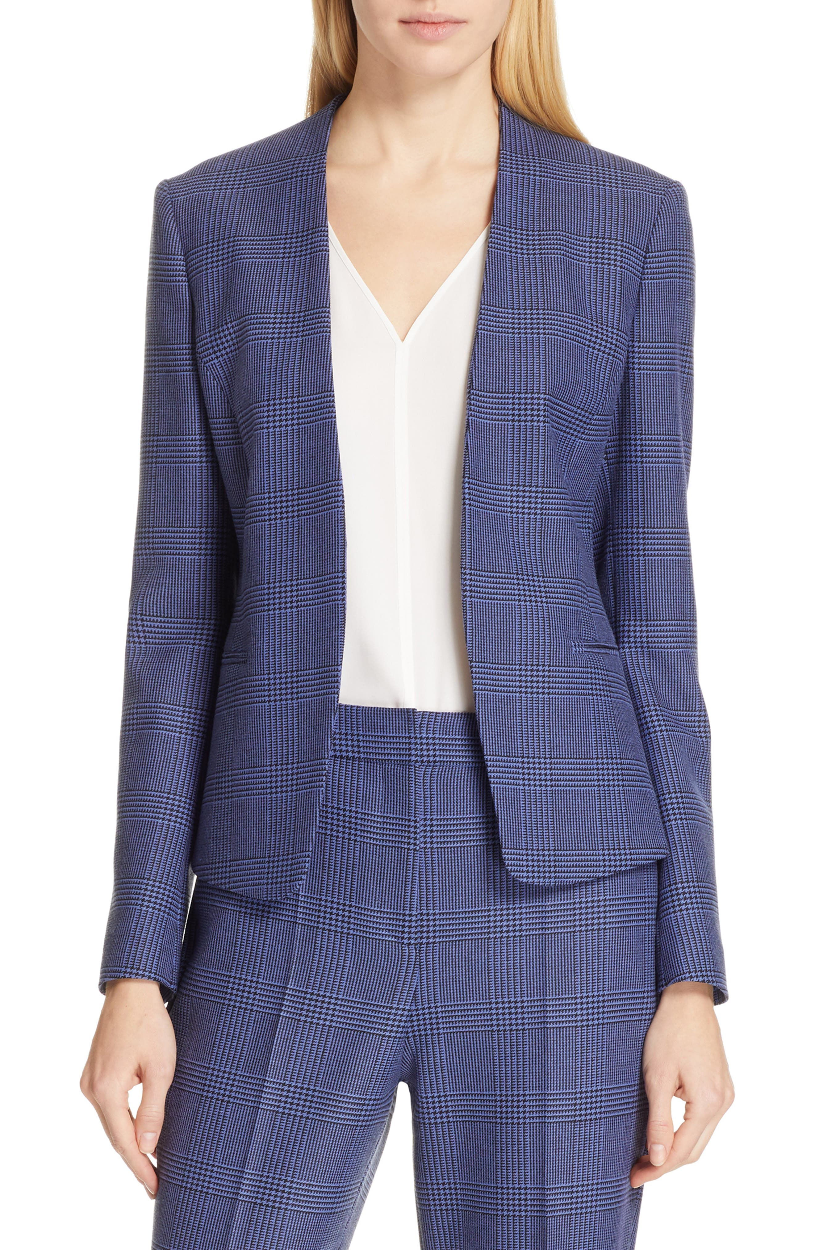 BOSS Jalesta Glencheck Open-Front Stretch Suiting Jacket in Soft Blue Fantasy