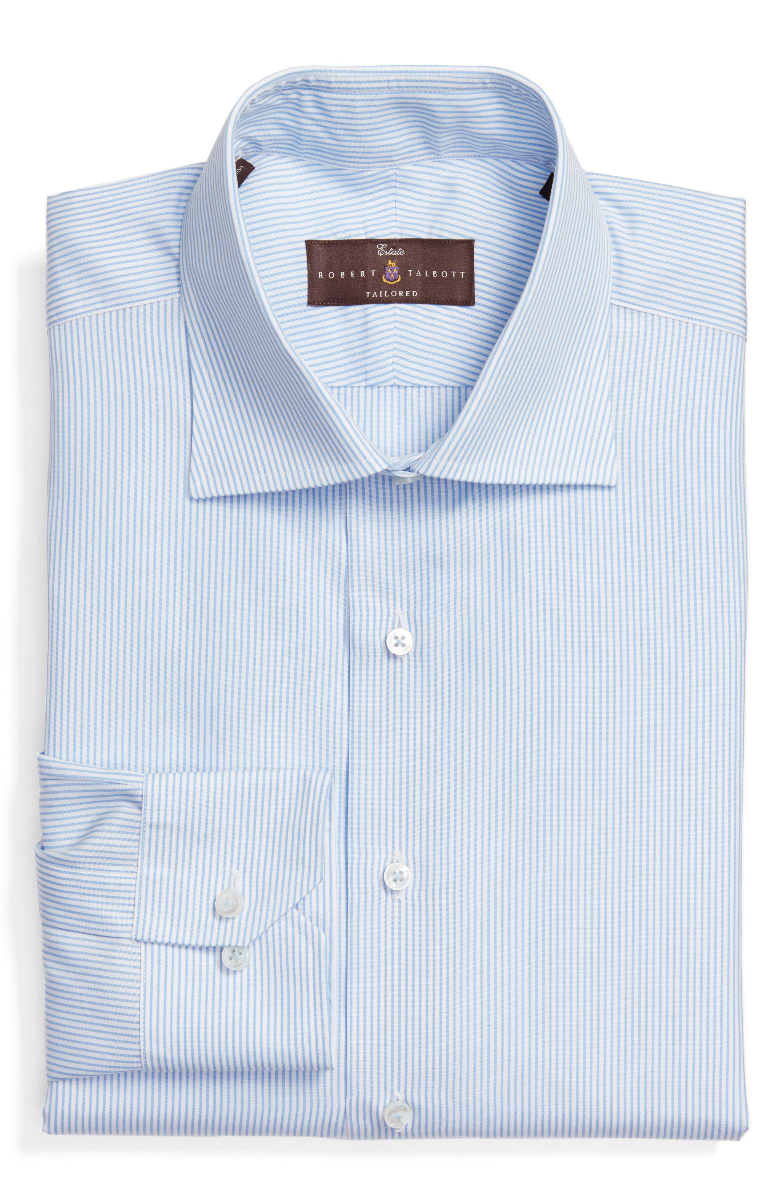 Tailored Fit Stripe Dress Shirt,                             Main thumbnail 1, color,                             SKY