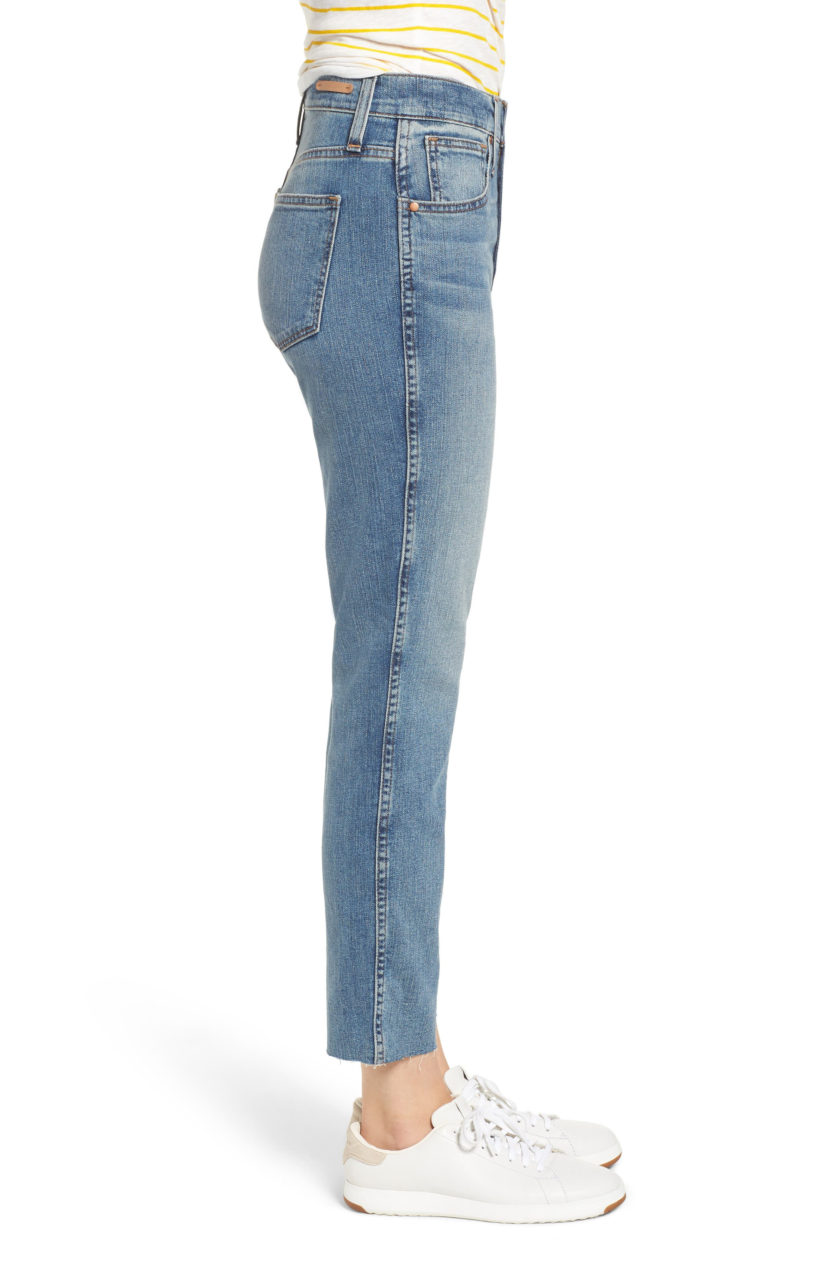 Raw Hem Slim Straight Leg Jeans,                             Alternate thumbnail 3, color,                             420