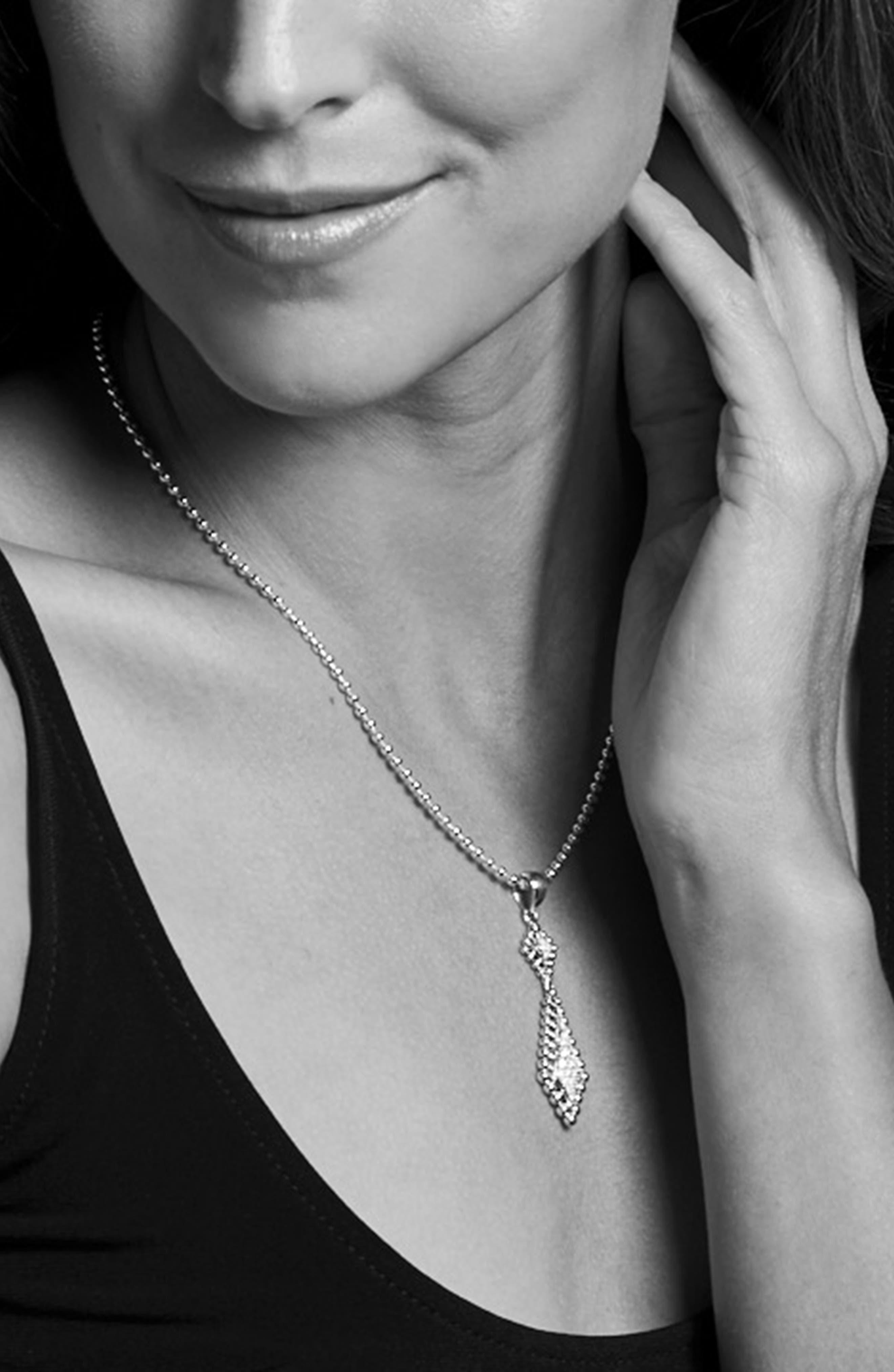 Caviar Spark Diamond Pendant Necklace,                             Alternate thumbnail 2, color,                             SILVER/ DIAMOND