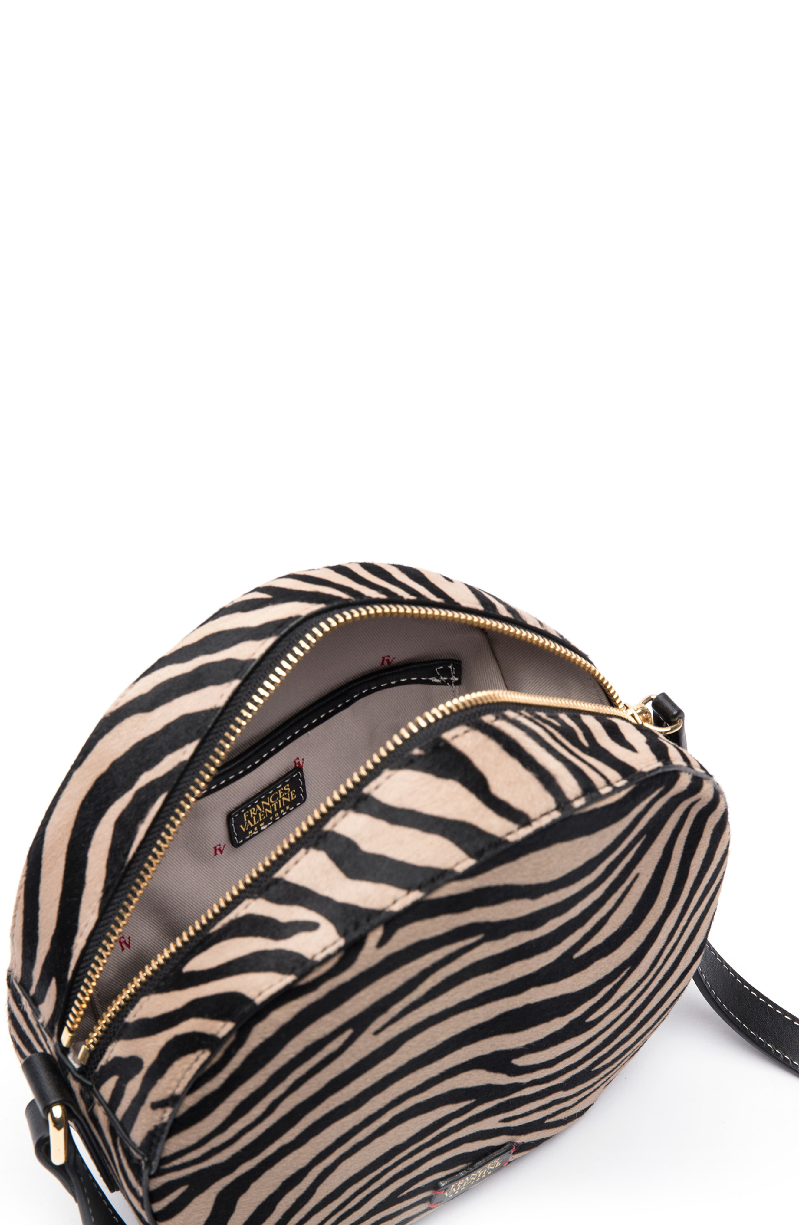 Frances Valetine Lulu Genuine Calf Hair Round Crossbody Bag,                             Alternate thumbnail 2, color,                             ZEBRA