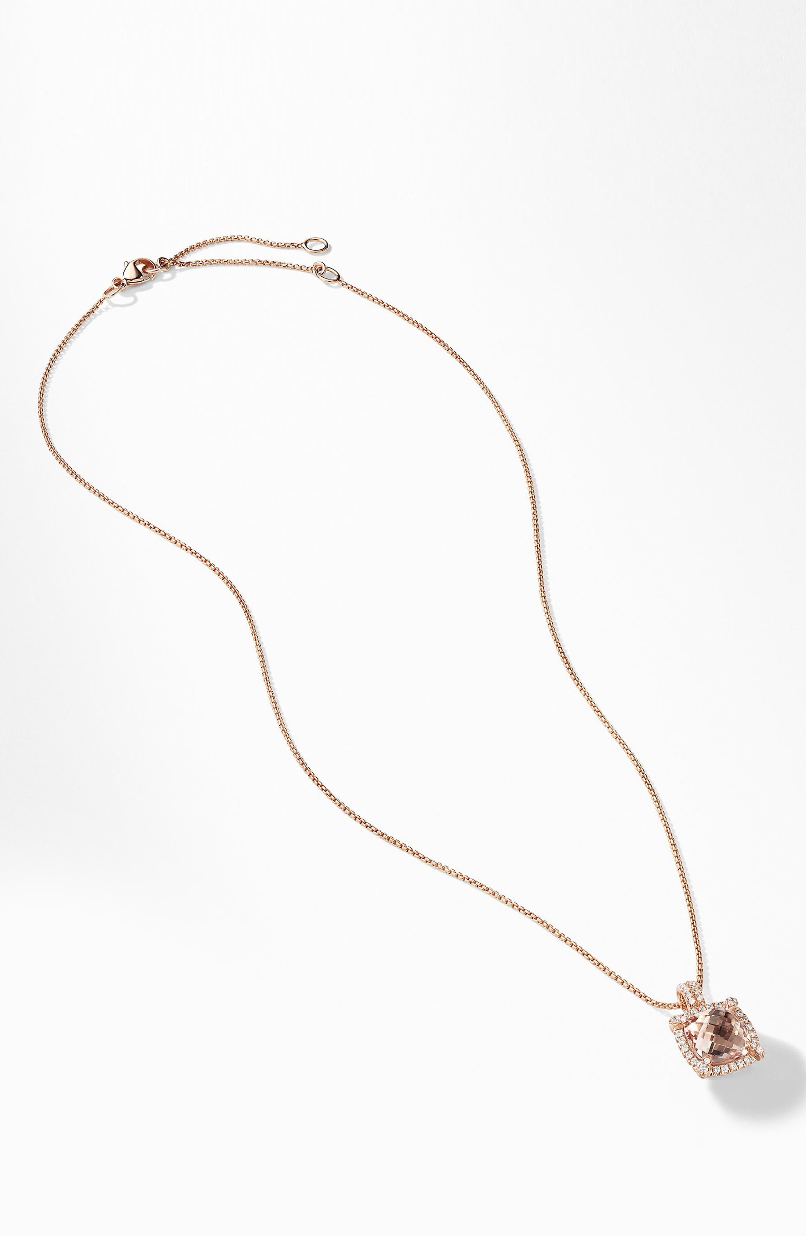 Châtelaine Pavé Bezel Pendant Necklace with Morganite and Diamonds in 18K Rose Gold,                             Alternate thumbnail 2, color,                             ROSE GOLD/ DIAMOND/ MORGANITE