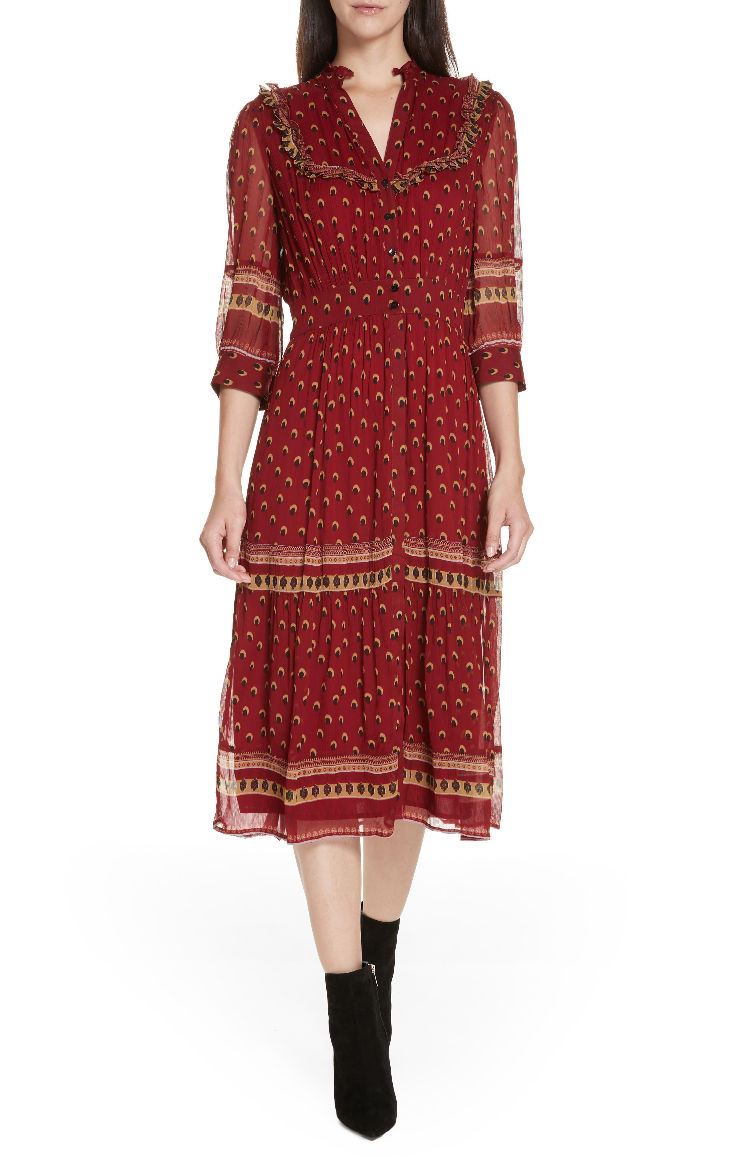 70s Dresses – Disco Dresses, Hippie Dresses, Wrap Dresses Womens Ba  sh Barie Ruffle Print Midi Dress Size Large - Red $260.98 AT vintagedancer.com