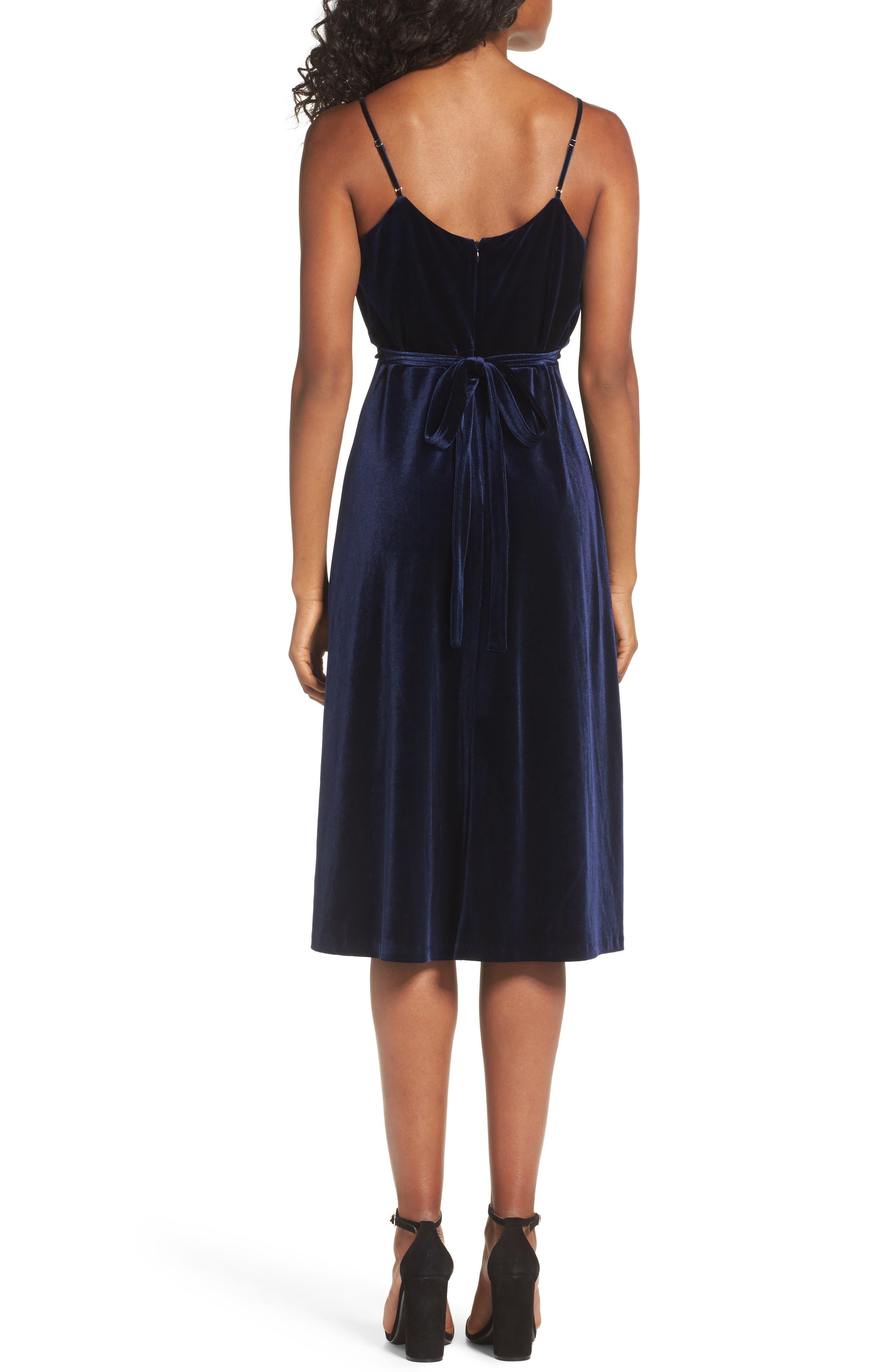 Velvet Faux Wrap Midi Dress,                             Alternate thumbnail 2, color,                             NAVY