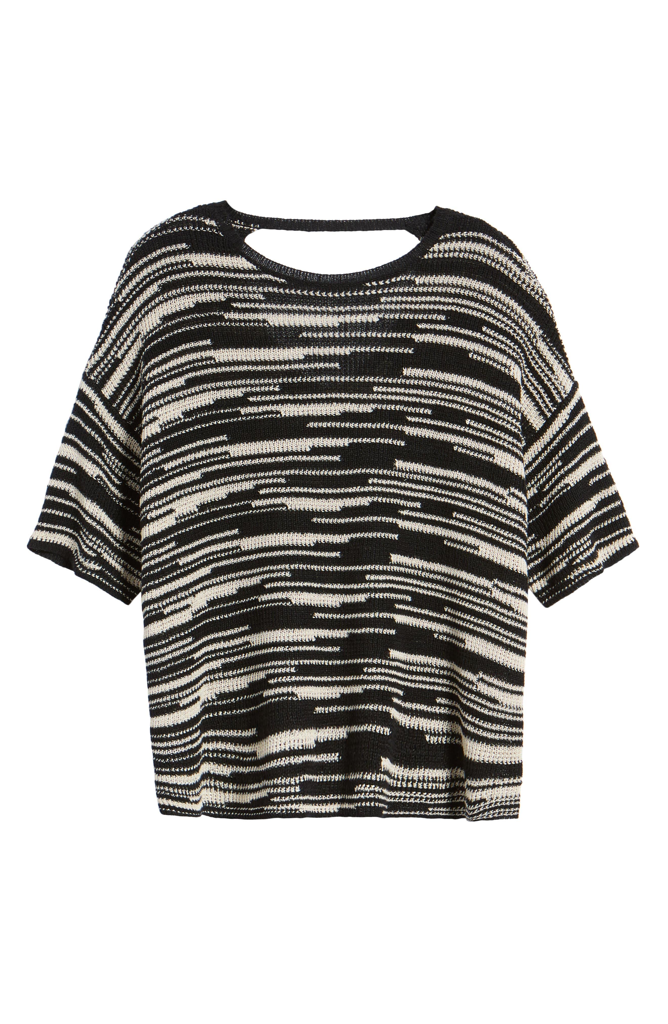 Stripe Organic Linen & Cotton Sweater,                             Alternate thumbnail 7, color,
