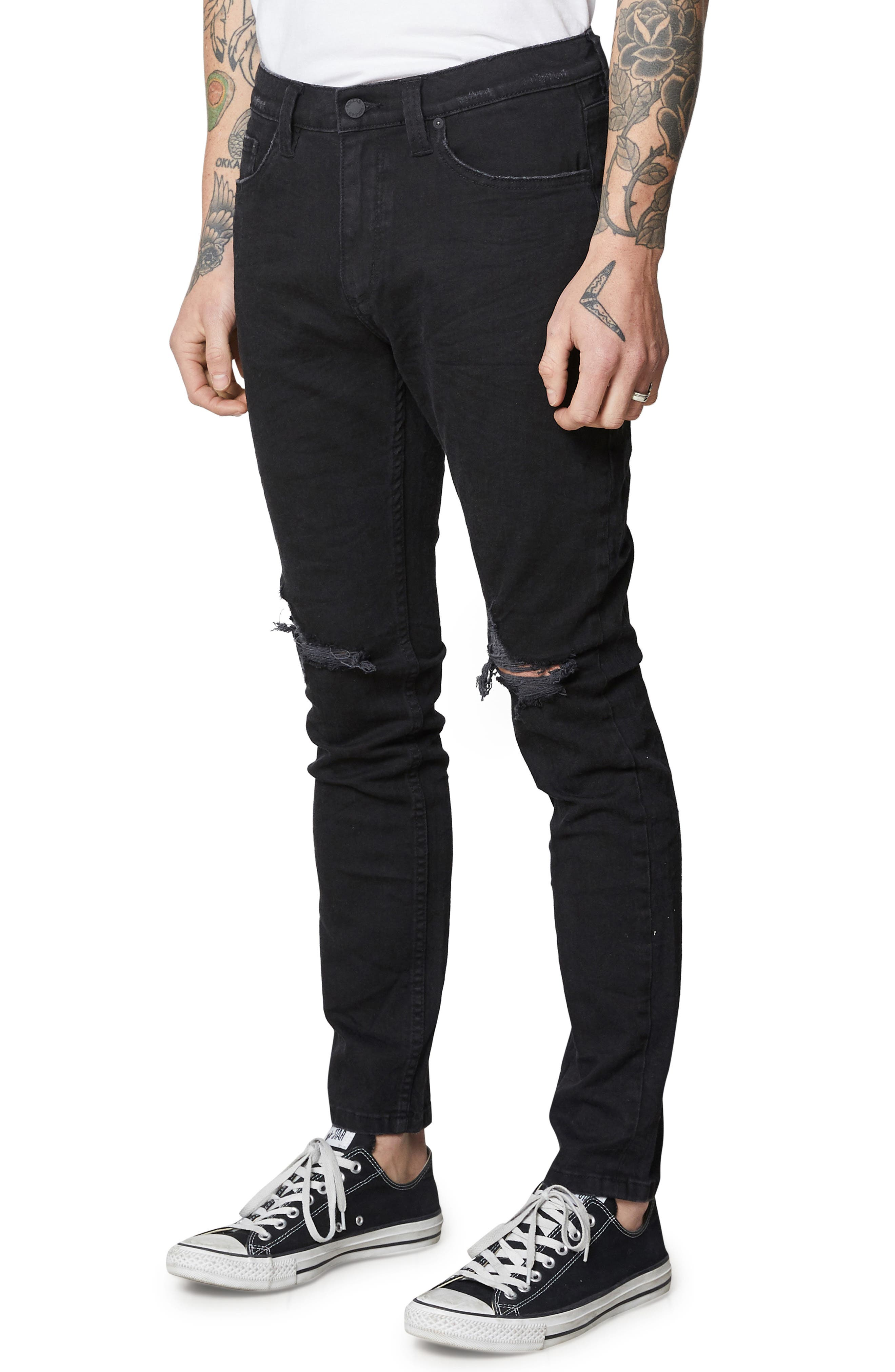 Stinger Skinny Fit Jeans,                             Alternate thumbnail 3, color,                             BLACK RIP