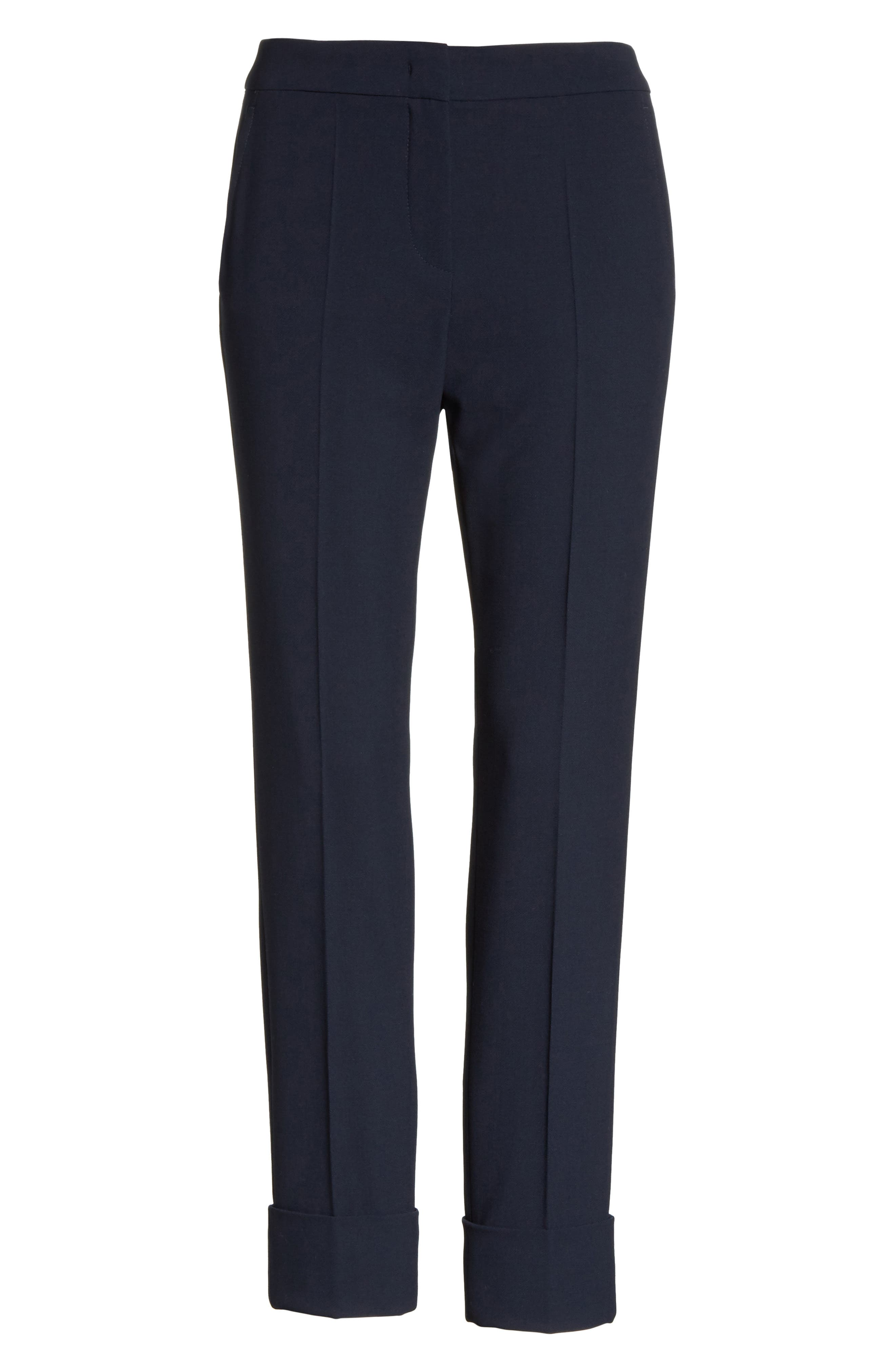 Stretch Wool Crepe Cuffed Pants,                             Alternate thumbnail 6, color,                             403